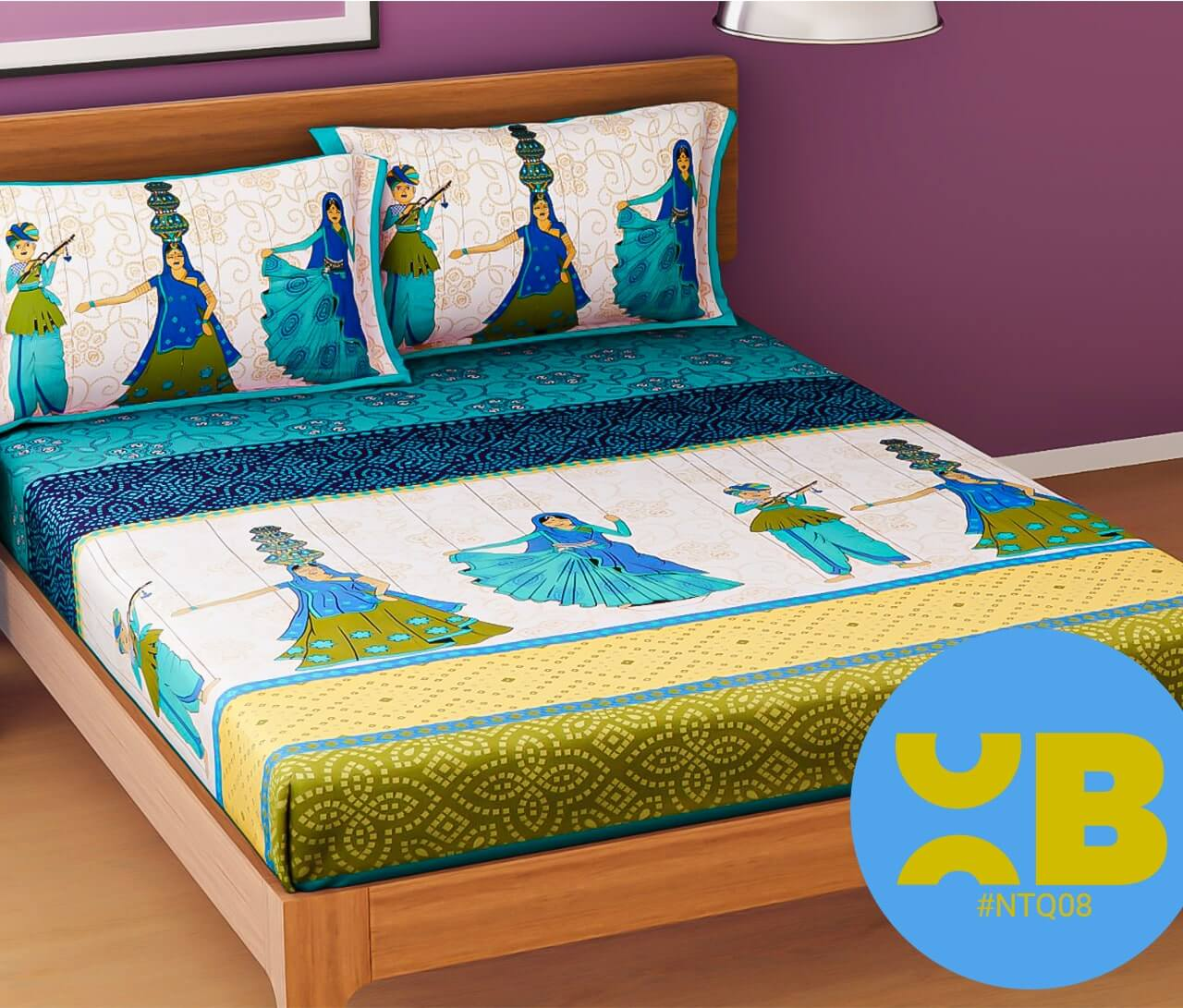 Rajasthani Panihari Print Double Bedsheet With Two Pillow Covers (90x100)