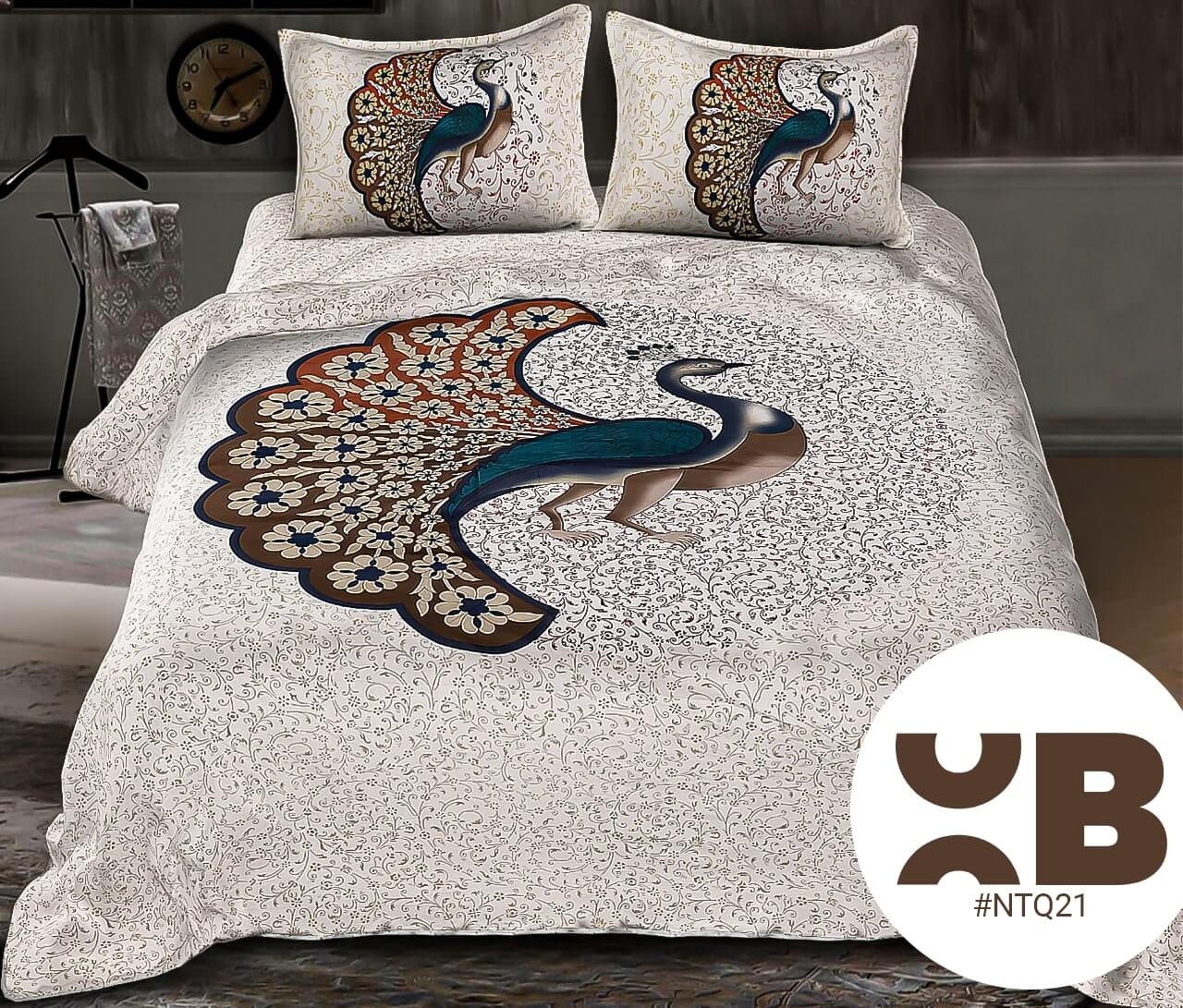 Peacock Design Print Double Bedsheet With Two Pillow Covers (90x100)