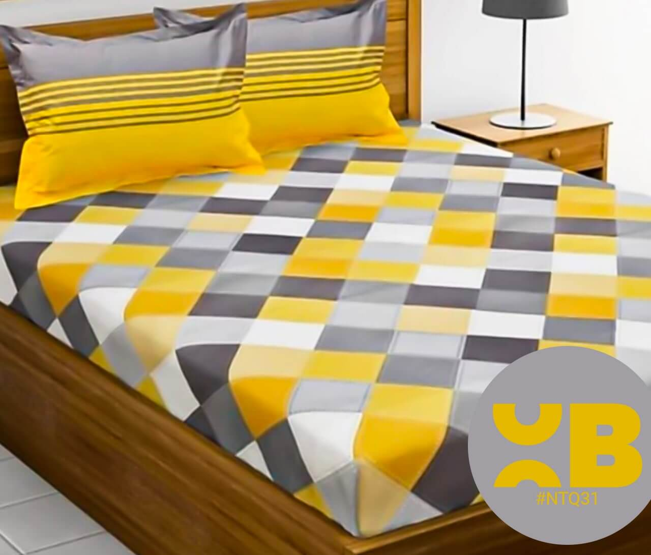 Grey Yellow Check Print Double Bedsheet With Two Pillow Covers (90x100)