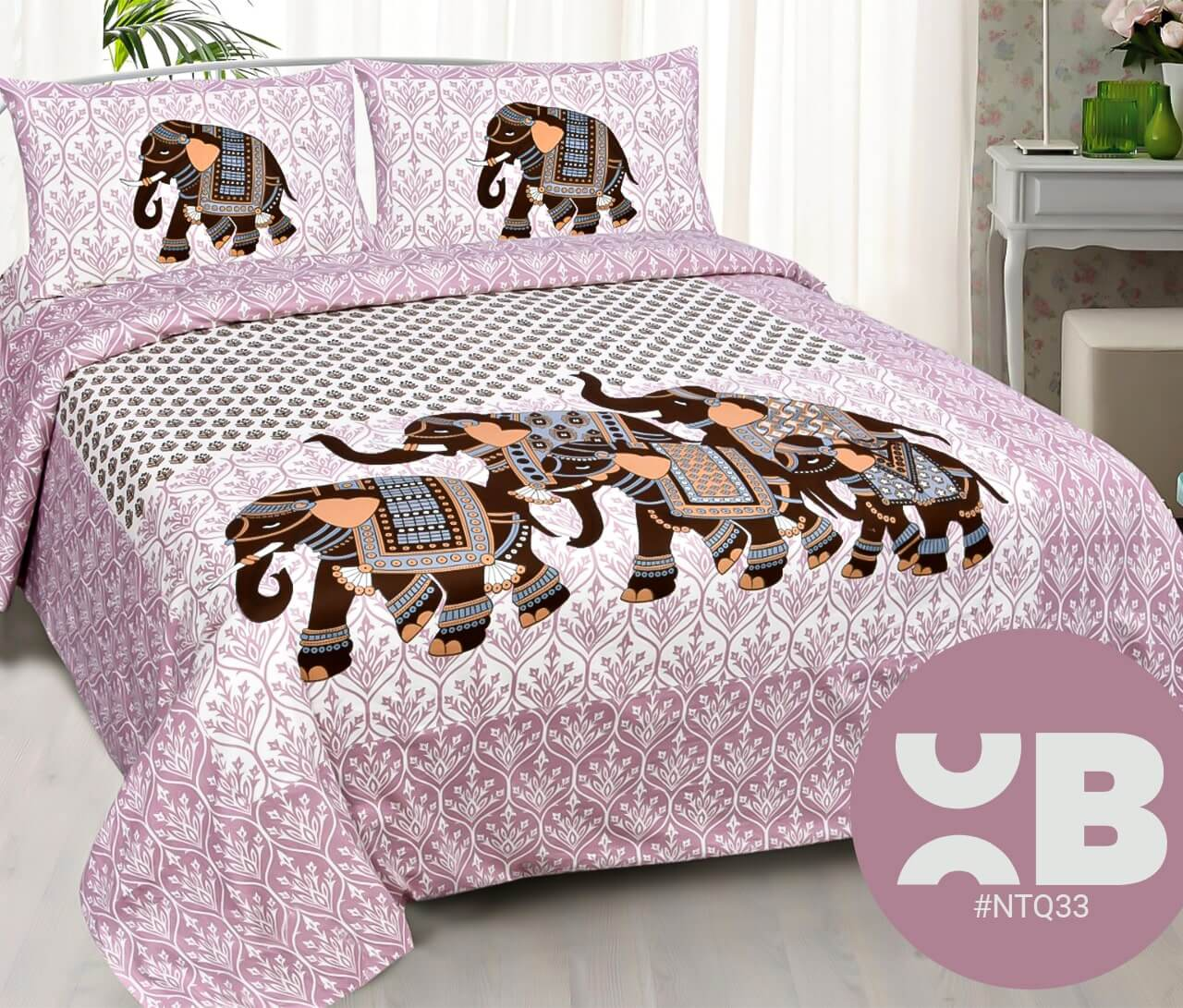 Pink Elephant Print Double Bedsheet With Two Pillow Covers (90x100)
