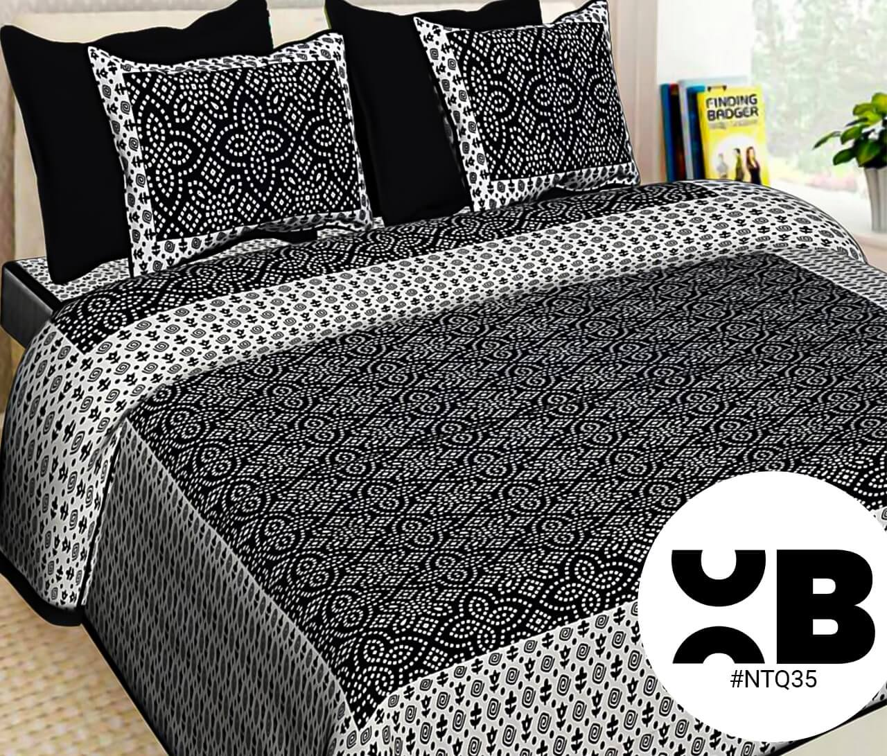 Black Bandhej Print Double Bedsheet With Two Pillow Covers (90x100)