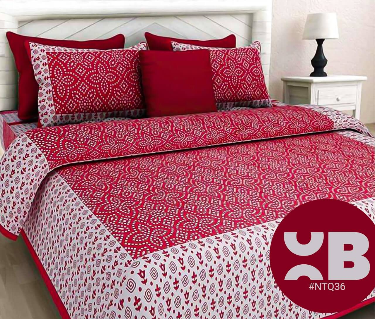 Red Maroon Bandhej Print Double Bedsheet With Two Pillow Covers (90x100)