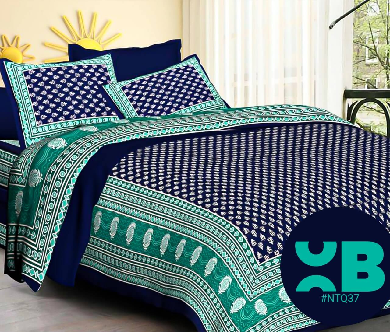 Royal Blue Booty Print Double Bedsheet With Two Pillow Covers (90x100)
