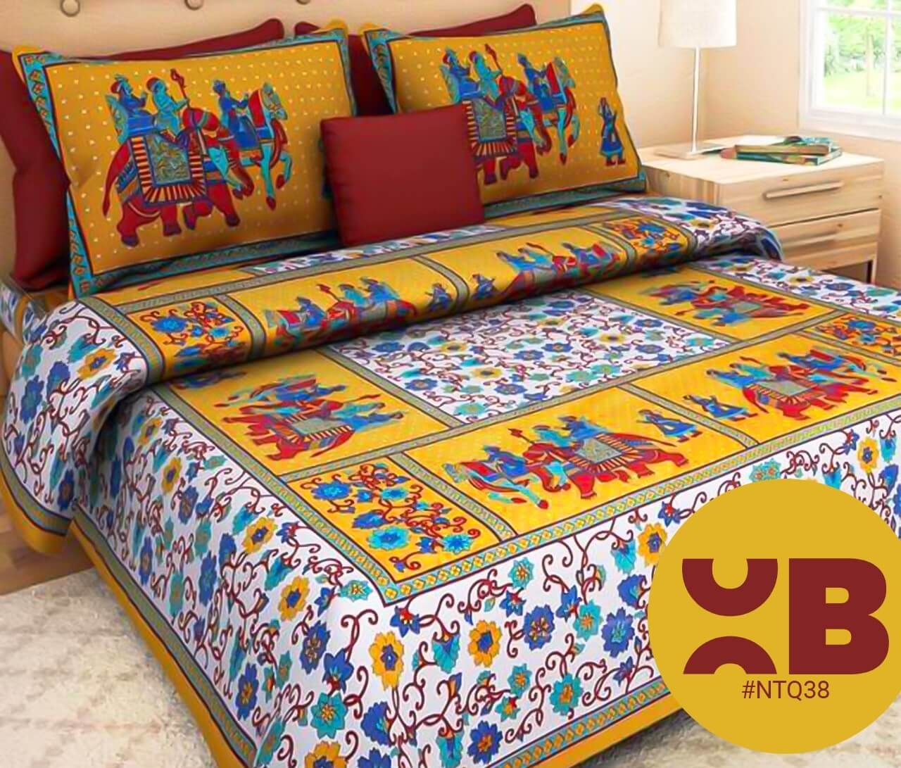 Yellow Traditional Rajasthani Print Double Bedsheet With Two Pillow Covers (90x100)
