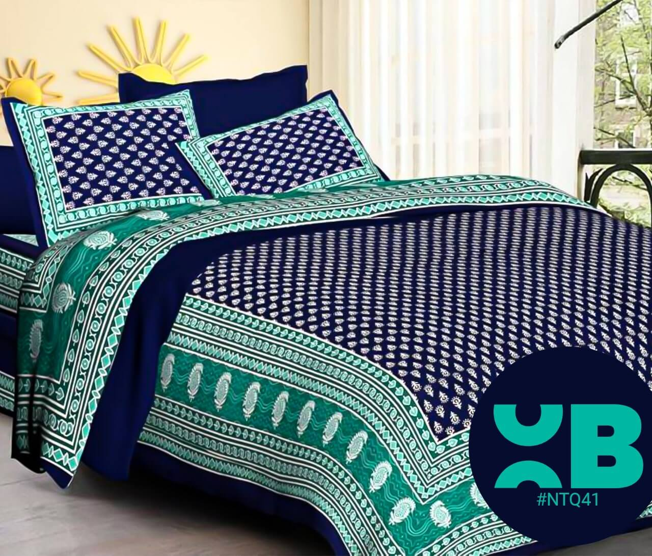 Black Booty Print Double Bedsheet With Two Pillow Covers (90x100)