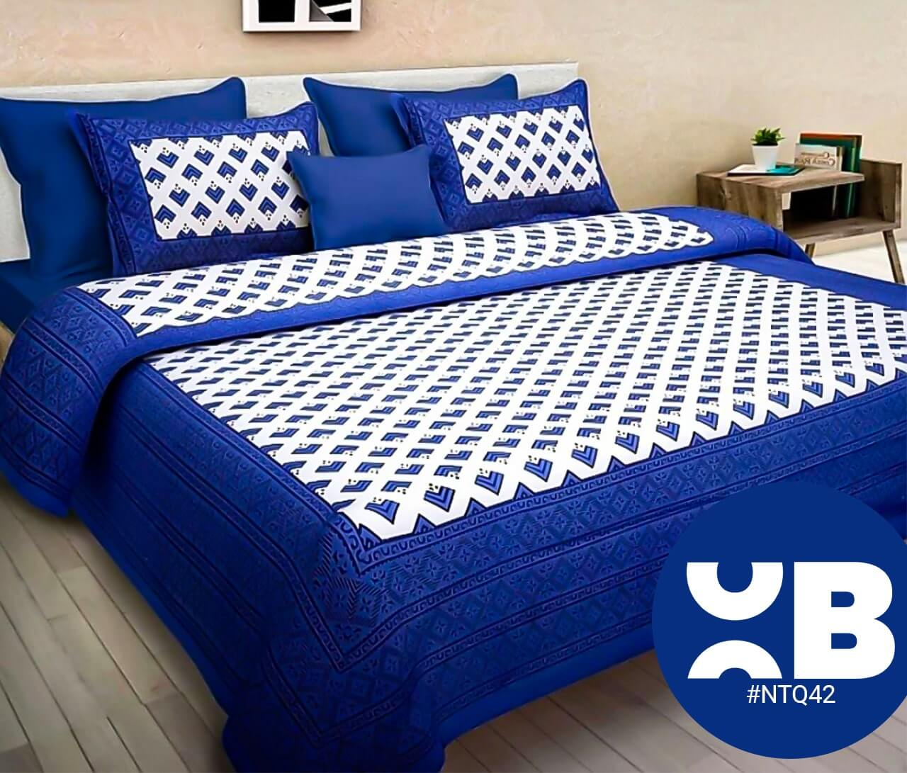 Blue Block Print Double Bedsheet With Two Pillow Covers (90x100)