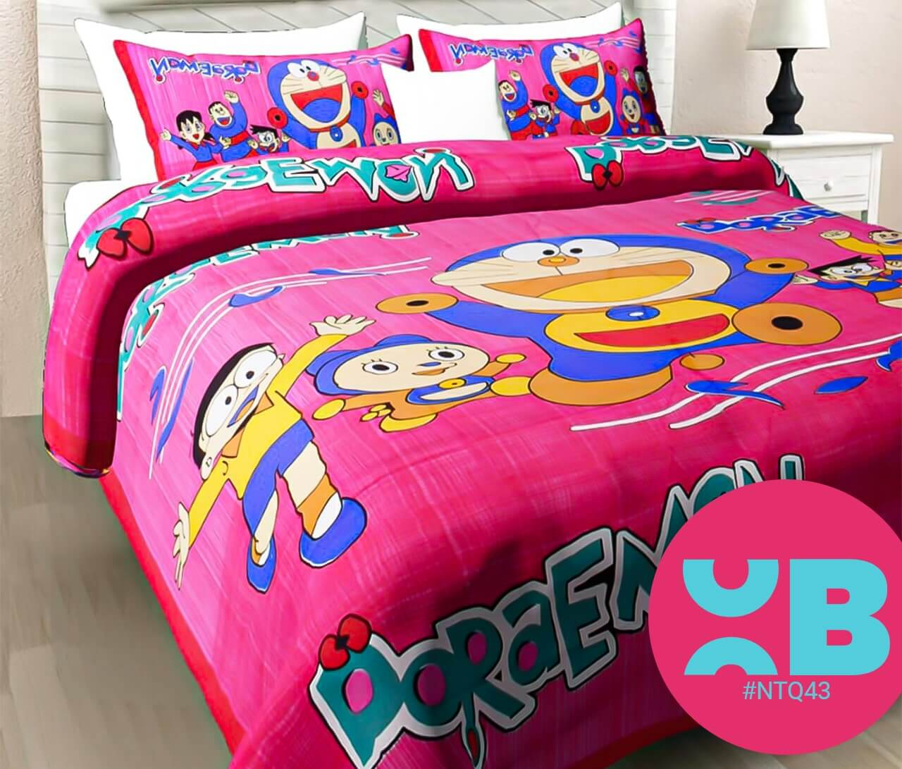 Doraemon With Nobita Print Double Bedsheet With Two Pillow Covers (90x100)