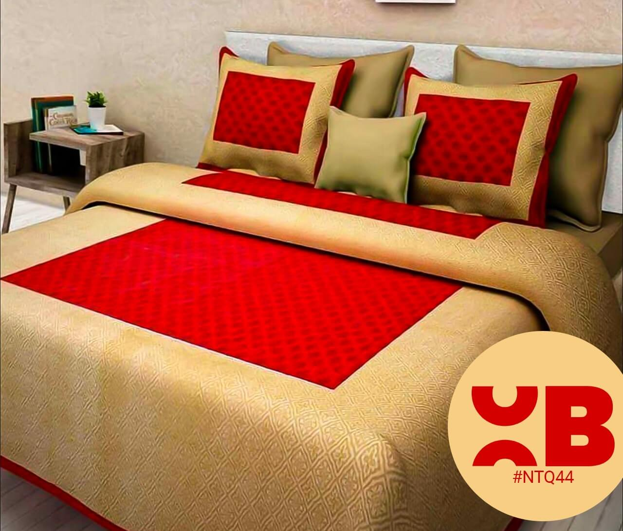 Golden Maroon Block Print Double Bedsheet With Two Pillow Covers (90x100)