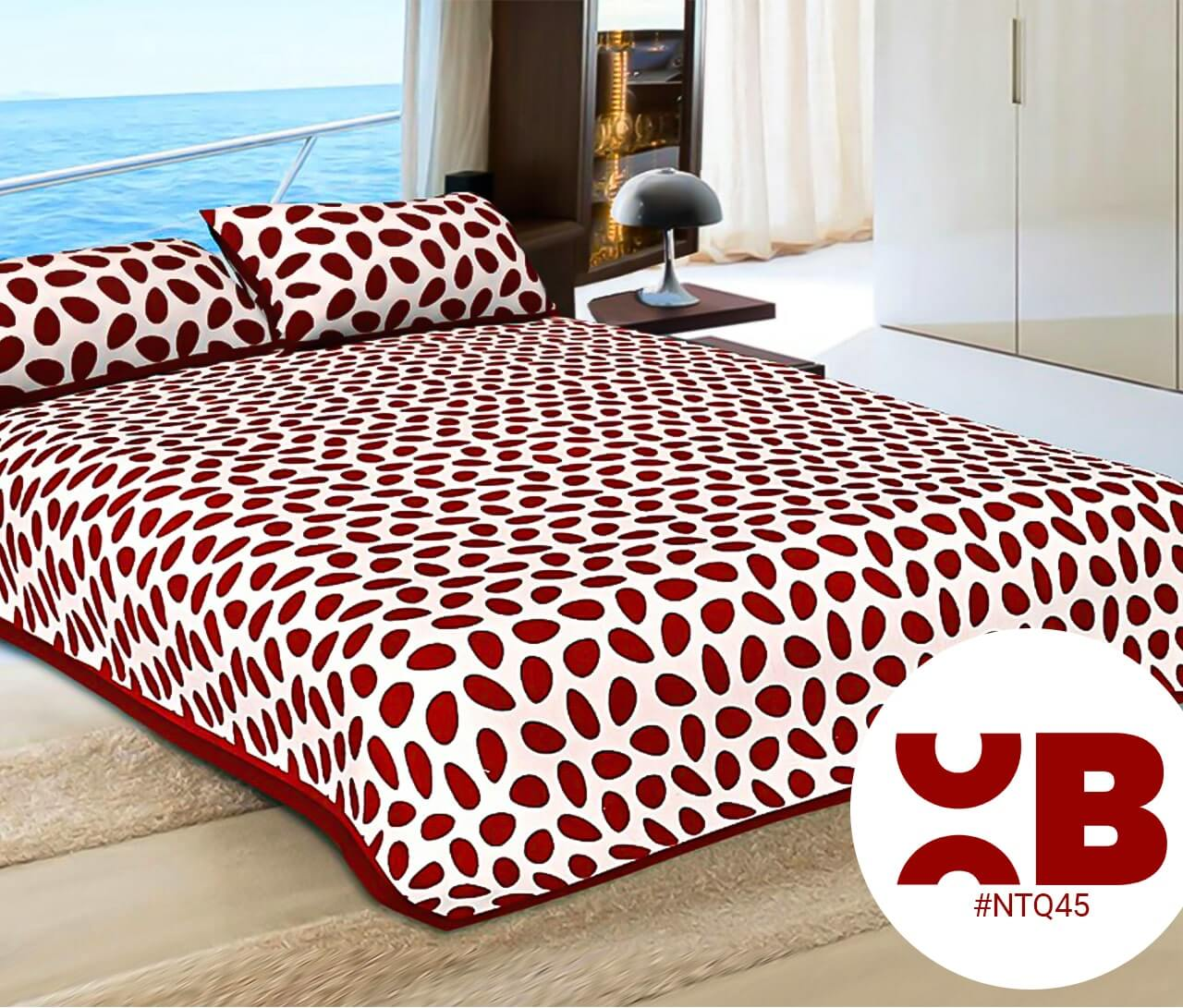 Dark Red Leaves Print Double Bedsheet With Two Pillow Covers (90x100)