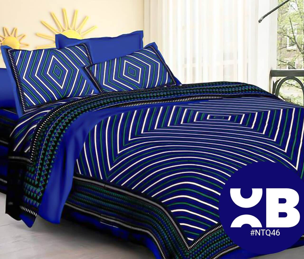 Blue Leheriya Print Double Bedsheet With Two Pillow Covers (90x100)