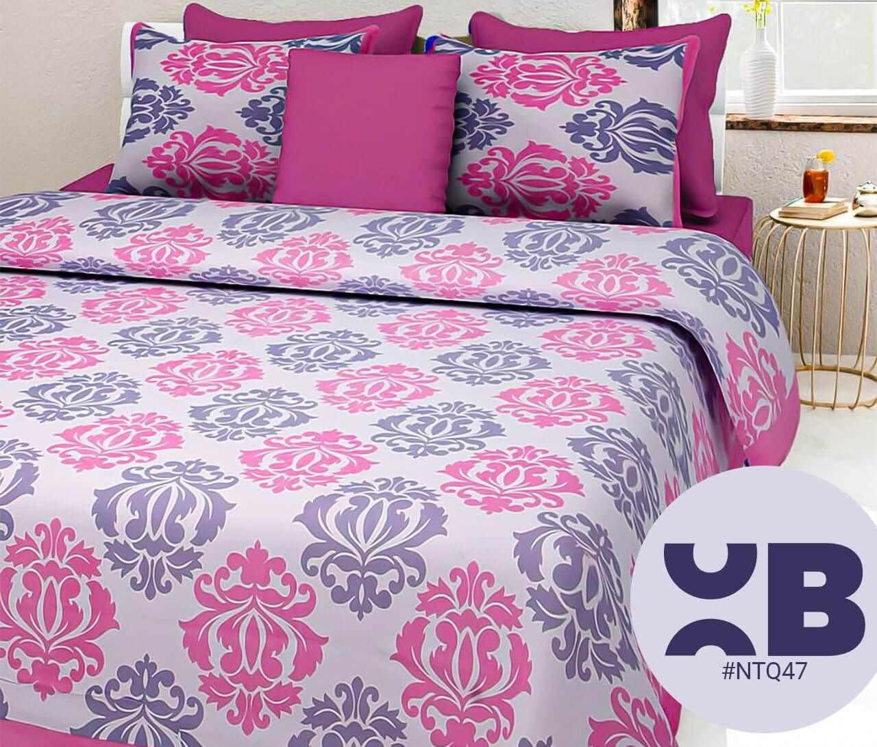 Pink Block Print Double Bedsheet With Two Pillow Covers (90x100)