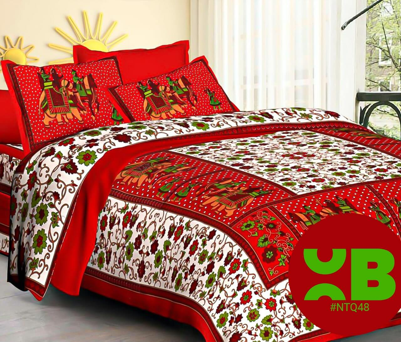 Red Traditional Rajasthani Print Double Bedsheet With Two Pillow Covers (90x100)