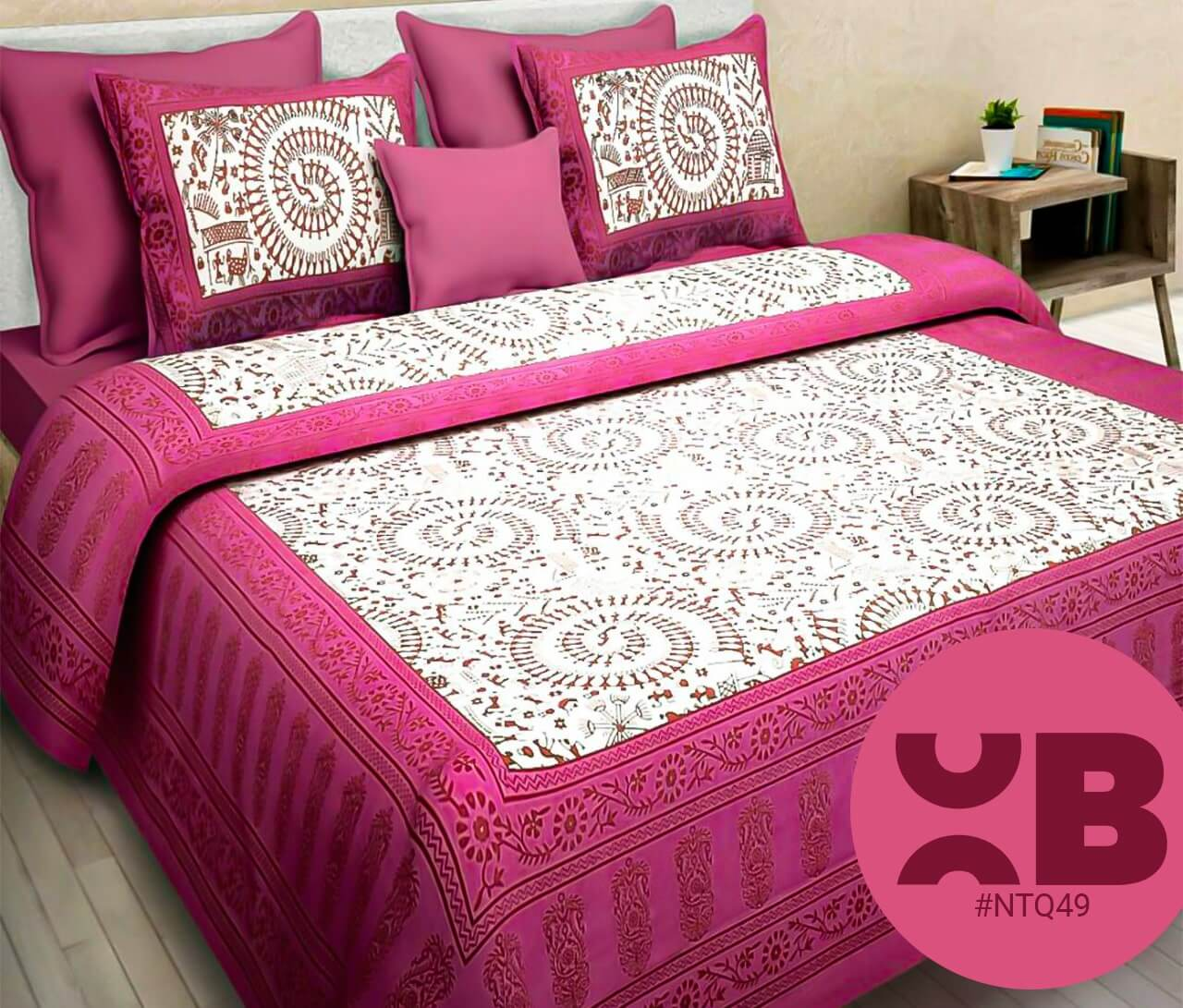 Pink Mandana Print Double Bedsheet With Two Pillow Covers (90x100)