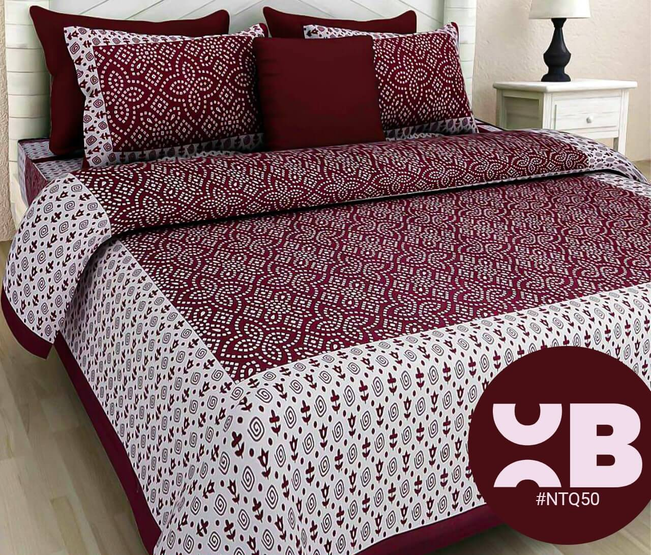 Maroon Bandhej Print Double Bedsheet With Two Pillow Covers (90x100)