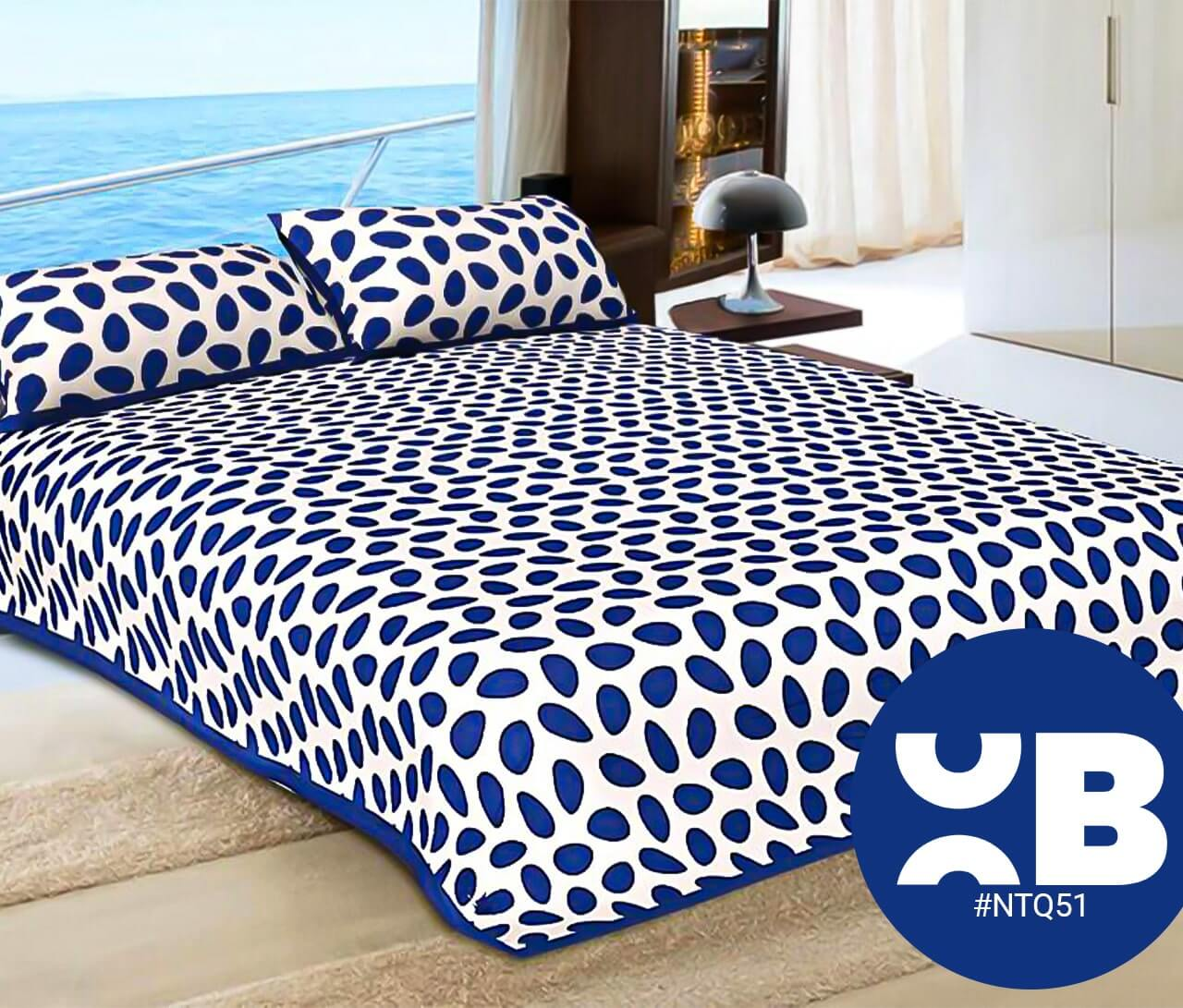 Blue Leaves Print Double Bedsheet With Two Pillow Covers (90x100)