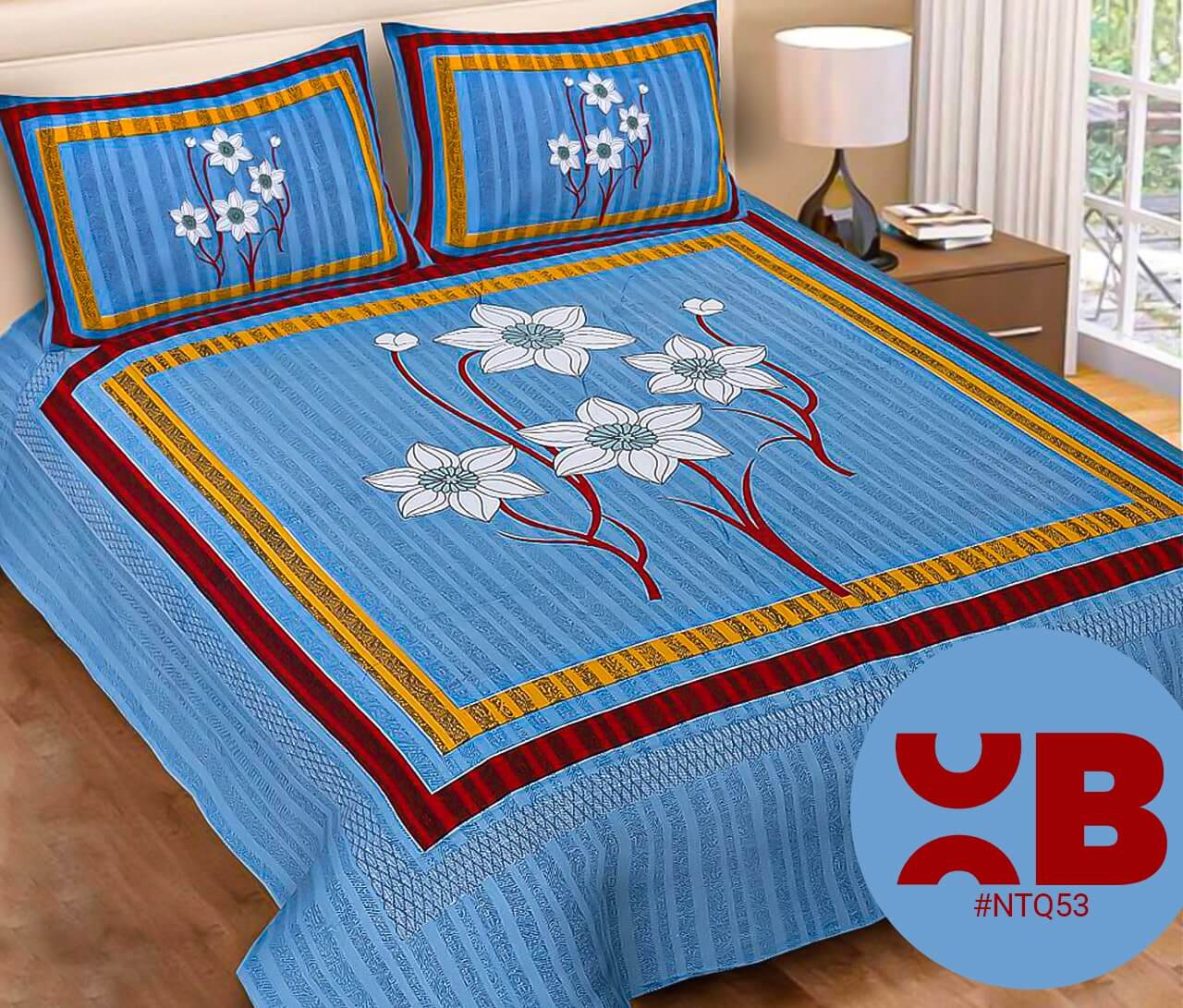 Light Blue Big Flower Print Double Bedsheet With Two Pillow Covers (90x100)
