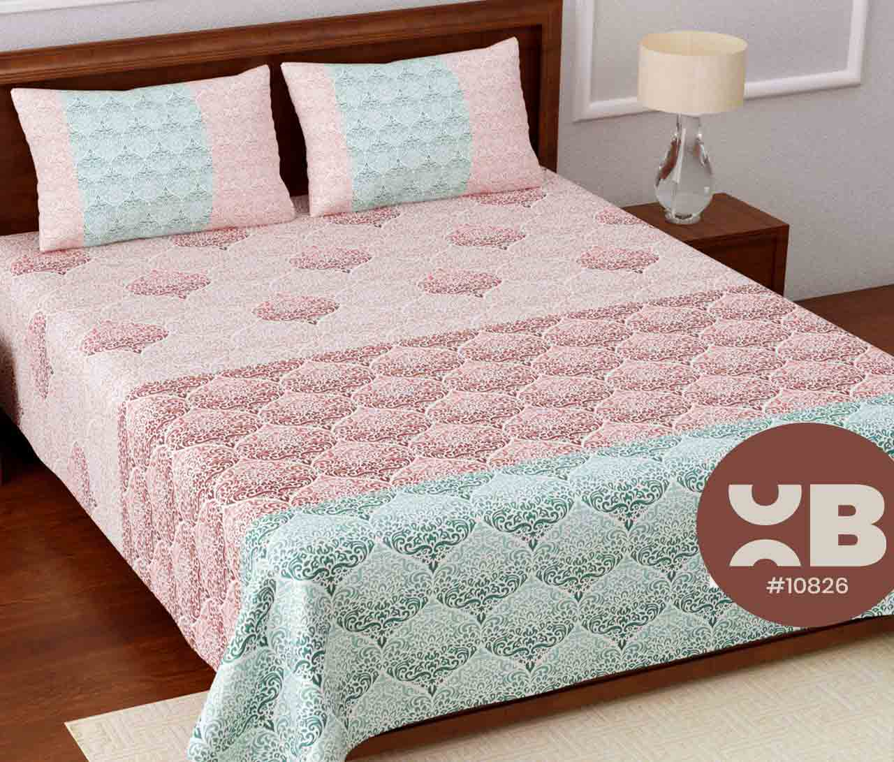 Cotton mini design King Size Double Bedsheet with two Pillow Covers ( 100X108)