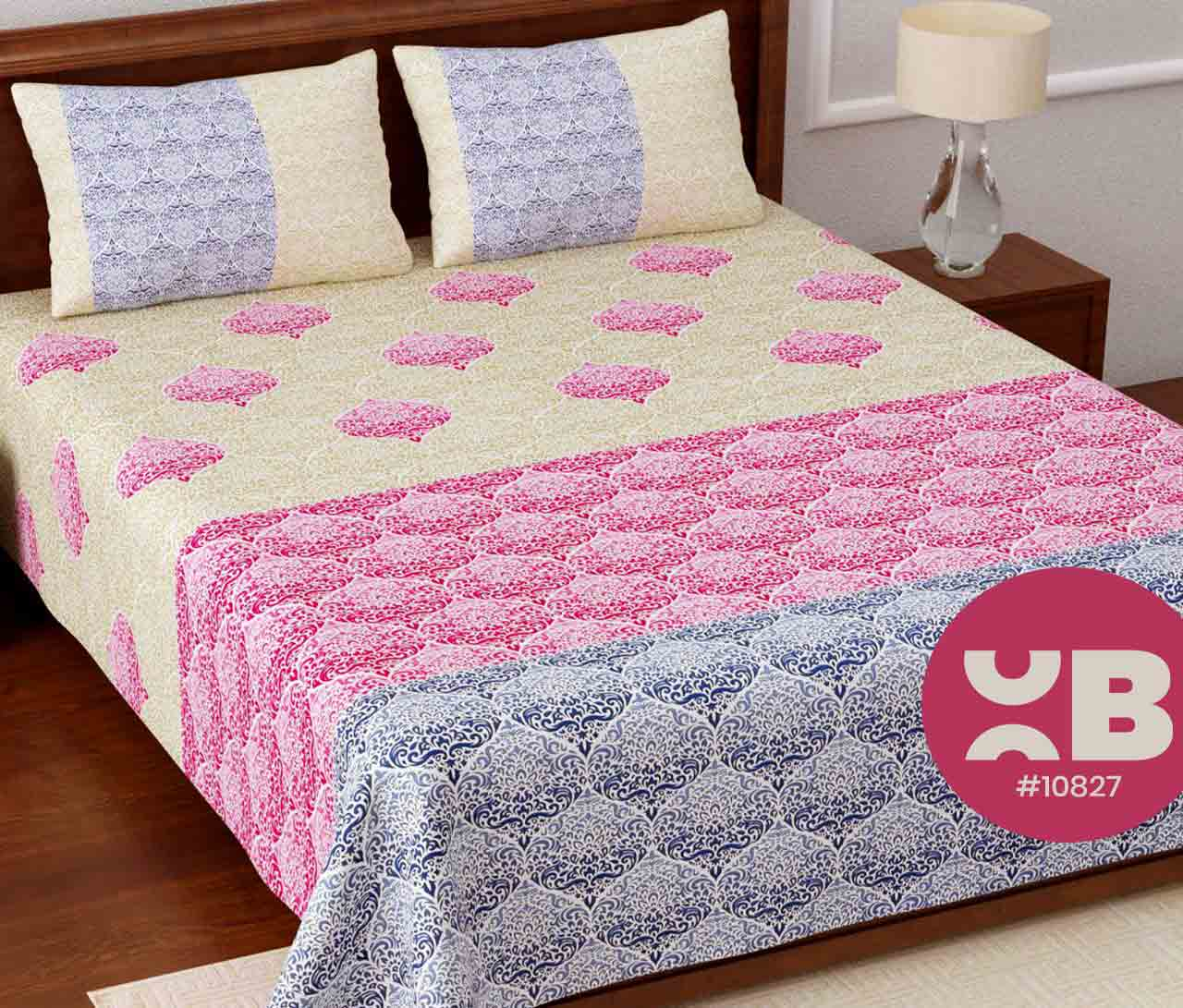 Multi mini design printed King Size Double Bedsheet with two Pillow Covers ( 100X108)