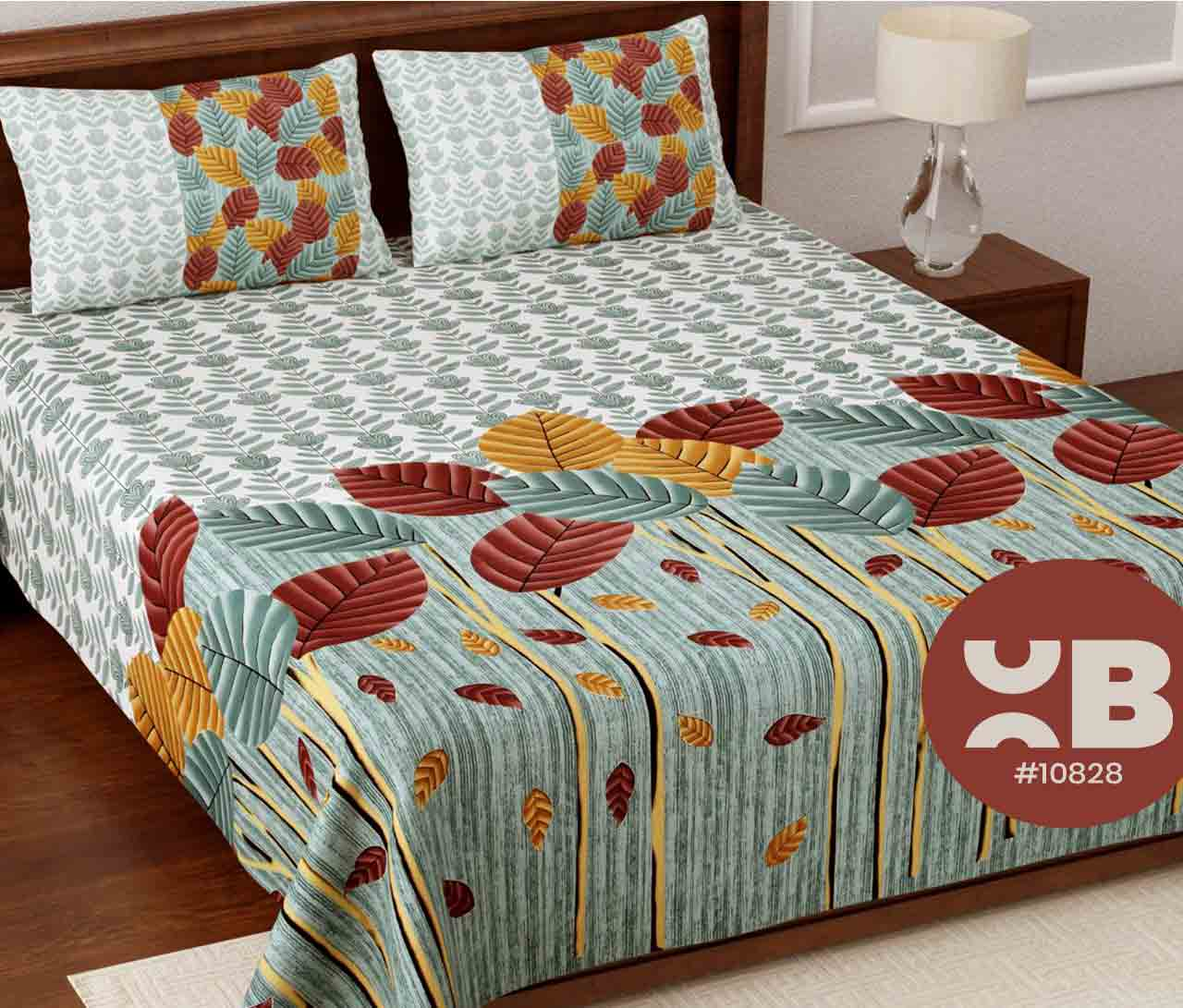 Leaf printed cotton King Size Double Bedsheet with two Pillow Covers ( 100X108)