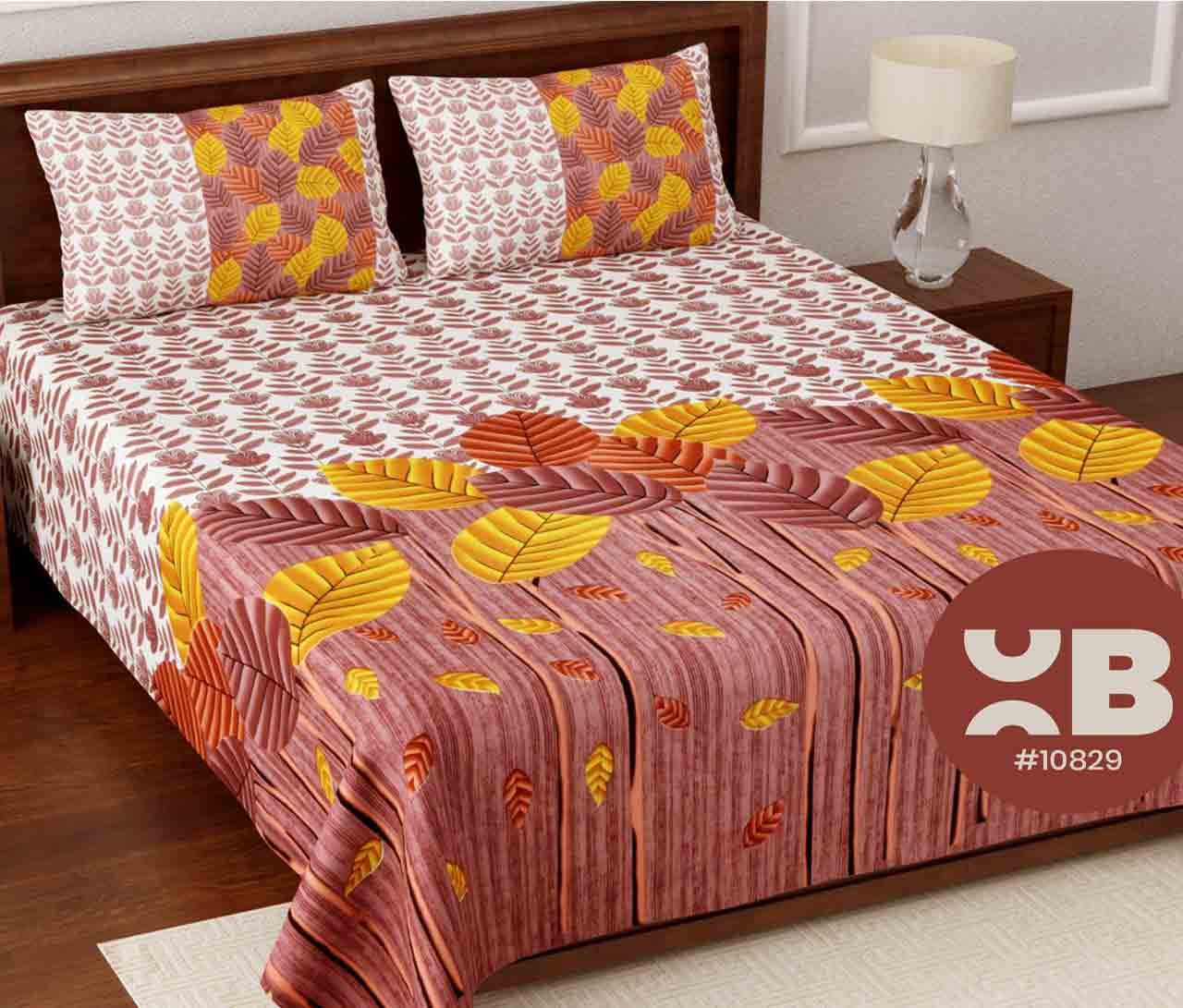 Big leaf printed King Size Double Bedsheet with two Pillow Covers ( 100X108)