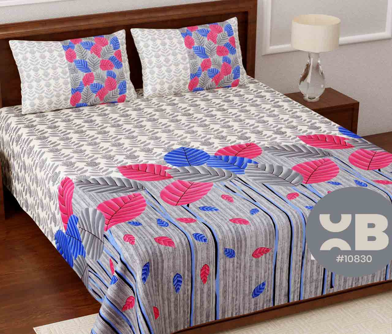 Multi colour leaf printed King Size Double Bedsheet with two Pillow Covers ( 100X108)
