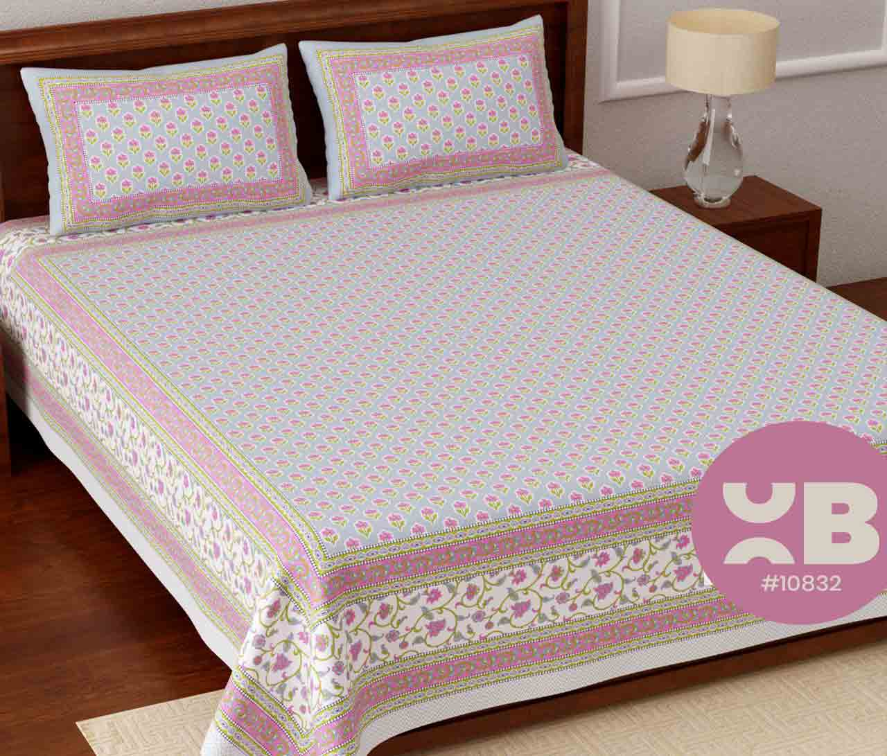 Flower designed cotton King Size Double Bedsheet with two Pillow Covers ( 100X108)