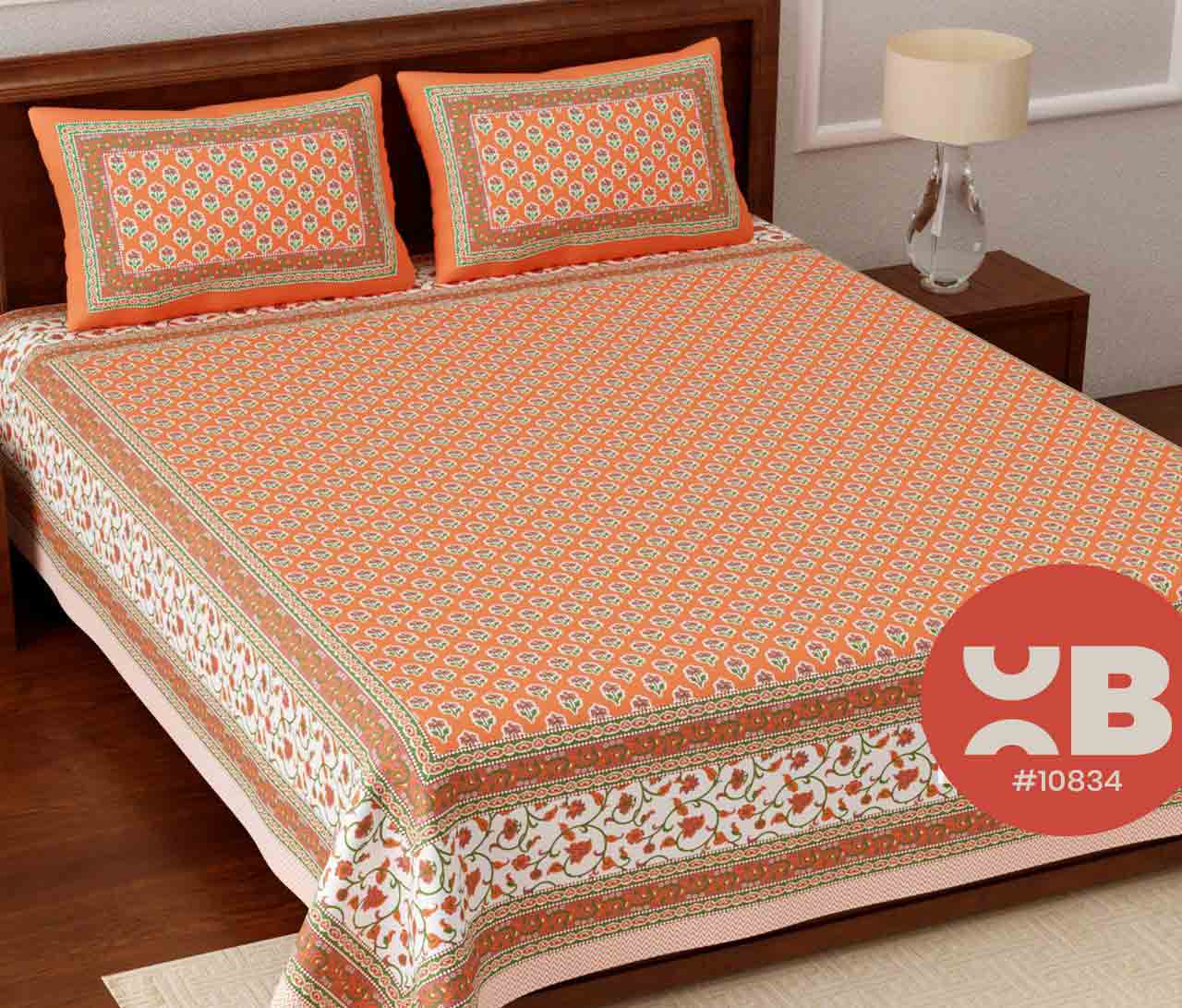 Cottony flower printed King Size Double Bedsheet with two Pillow Covers ( 100X108)