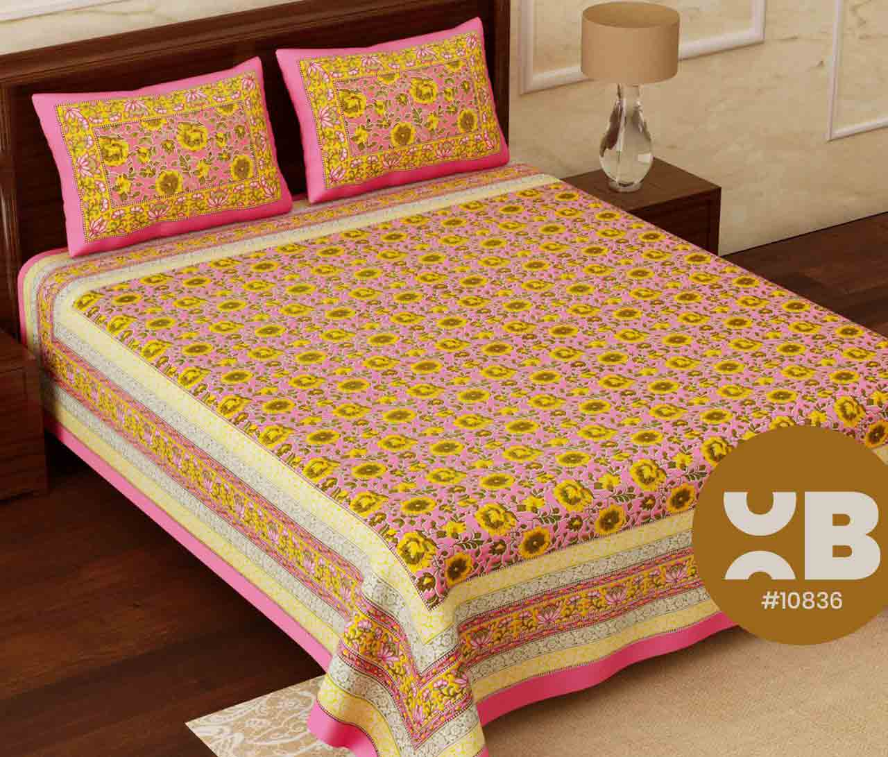 Pink & yellow combo printed King Size Double Bedsheet with two Pillow Covers ( 100X108)