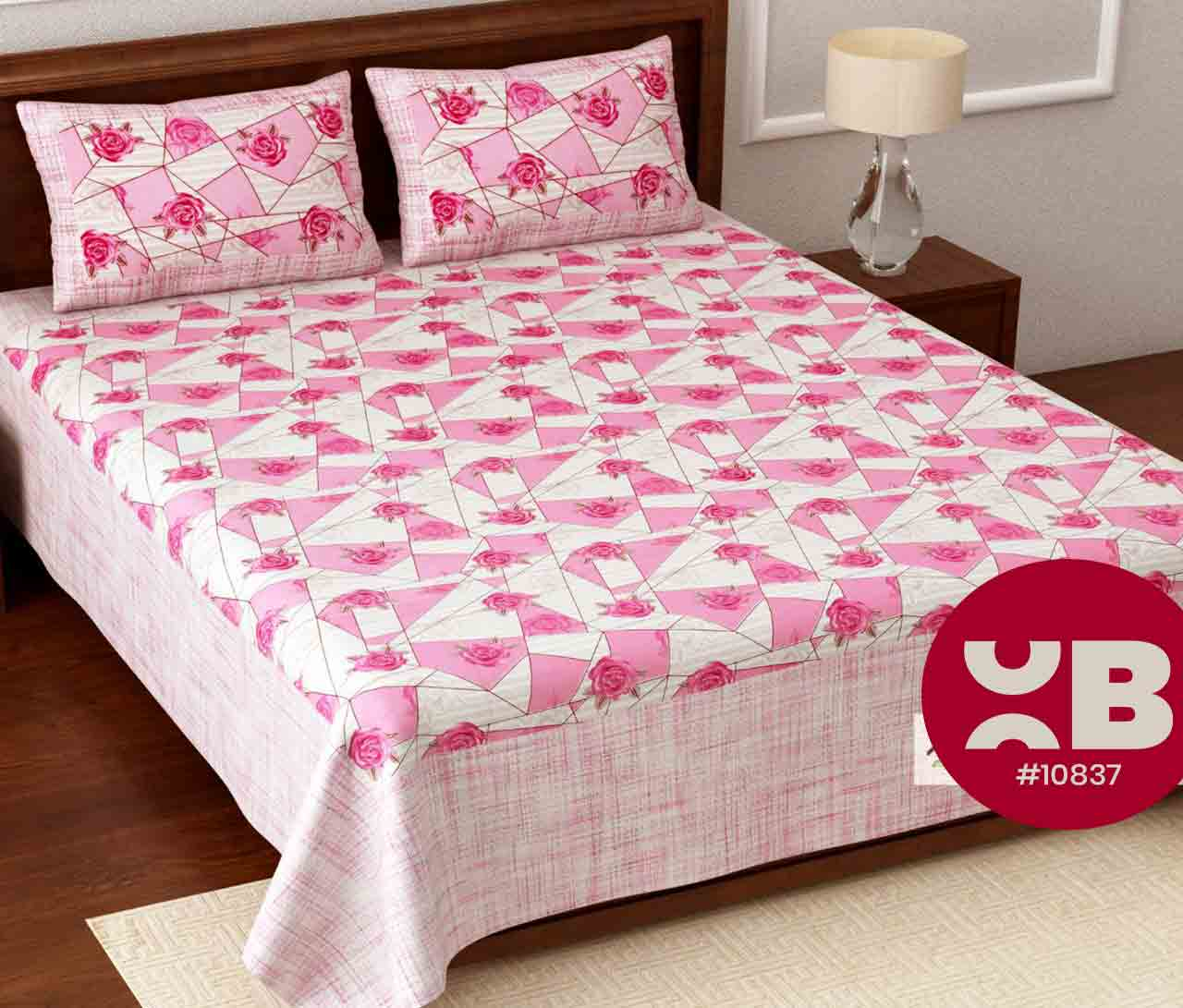 Pretty roses printed King Size Double Bedsheet with two Pillow Covers ( 100X108)