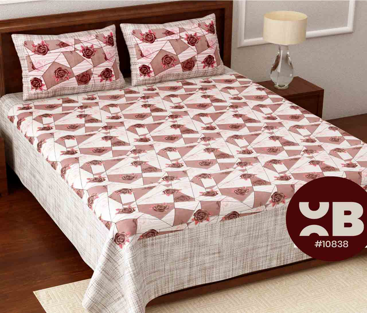 Rose printed cotton King Size Double Bedsheet with two Pillow Covers ( 100X108)