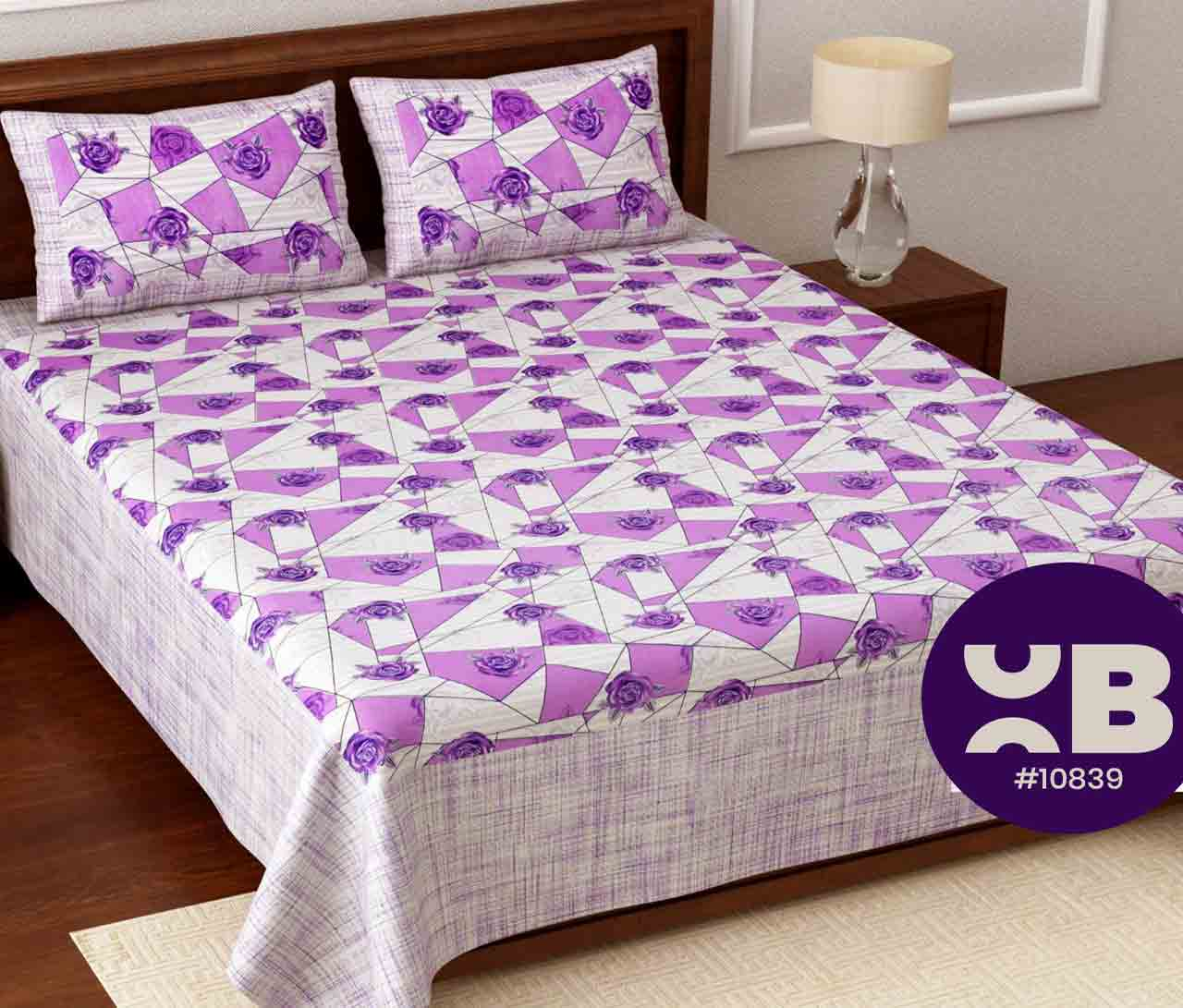 Purple shade rose printed King Size Double Bedsheet with two Pillow Covers ( 100X108)