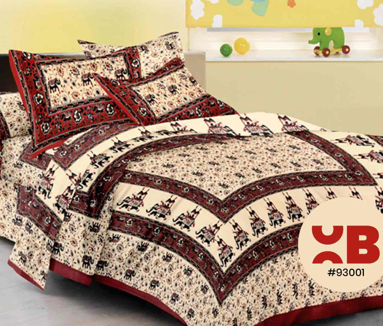 Rajasthani Elephant Printed Double Bedsheet With Two Pillow Covers ( 93X108)