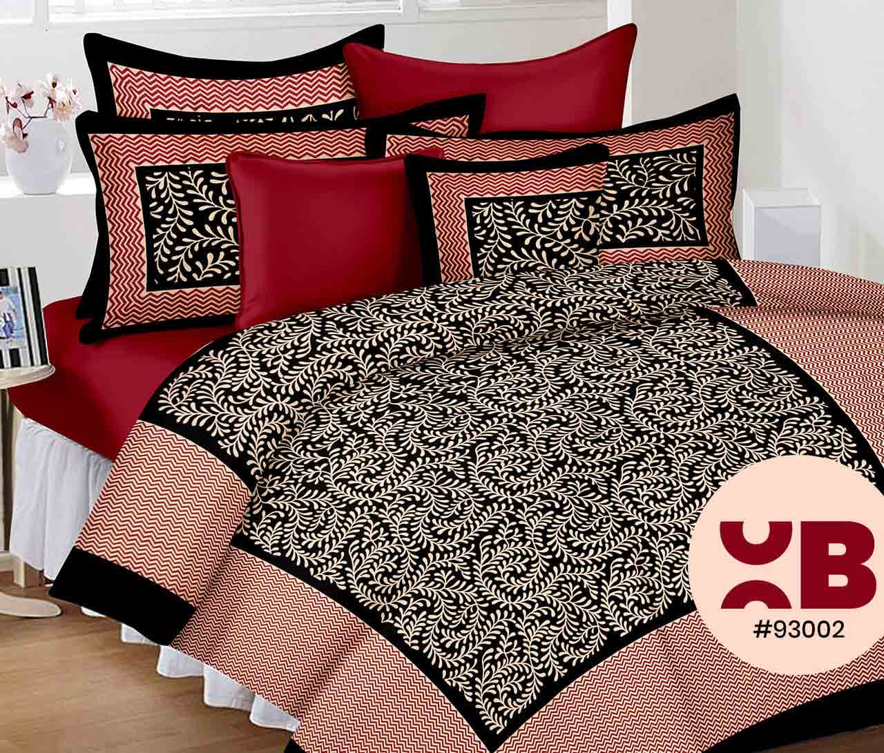 Black Outlining Bedsheet With Sober Print Design Double Bedsheet With Two Pillow Covers ( 93X108)