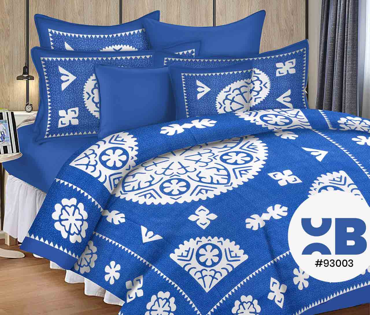 Stunning Blue & White Combo Double Bedsheet With Two Pillow Covers ( 93X108)