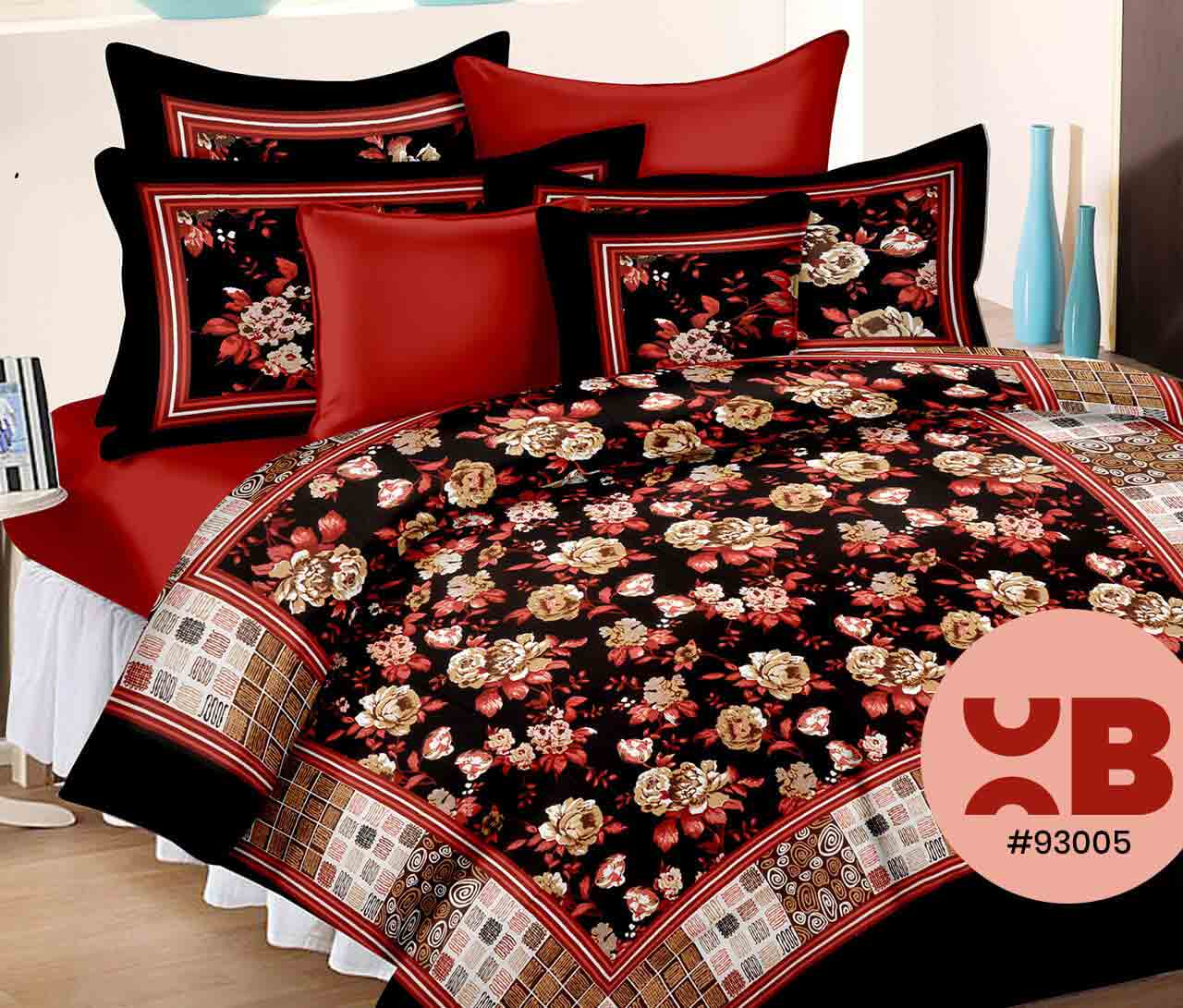 Red & Black Rose Printed Double Bedsheet With Two Pillow Covers ( 93X108)