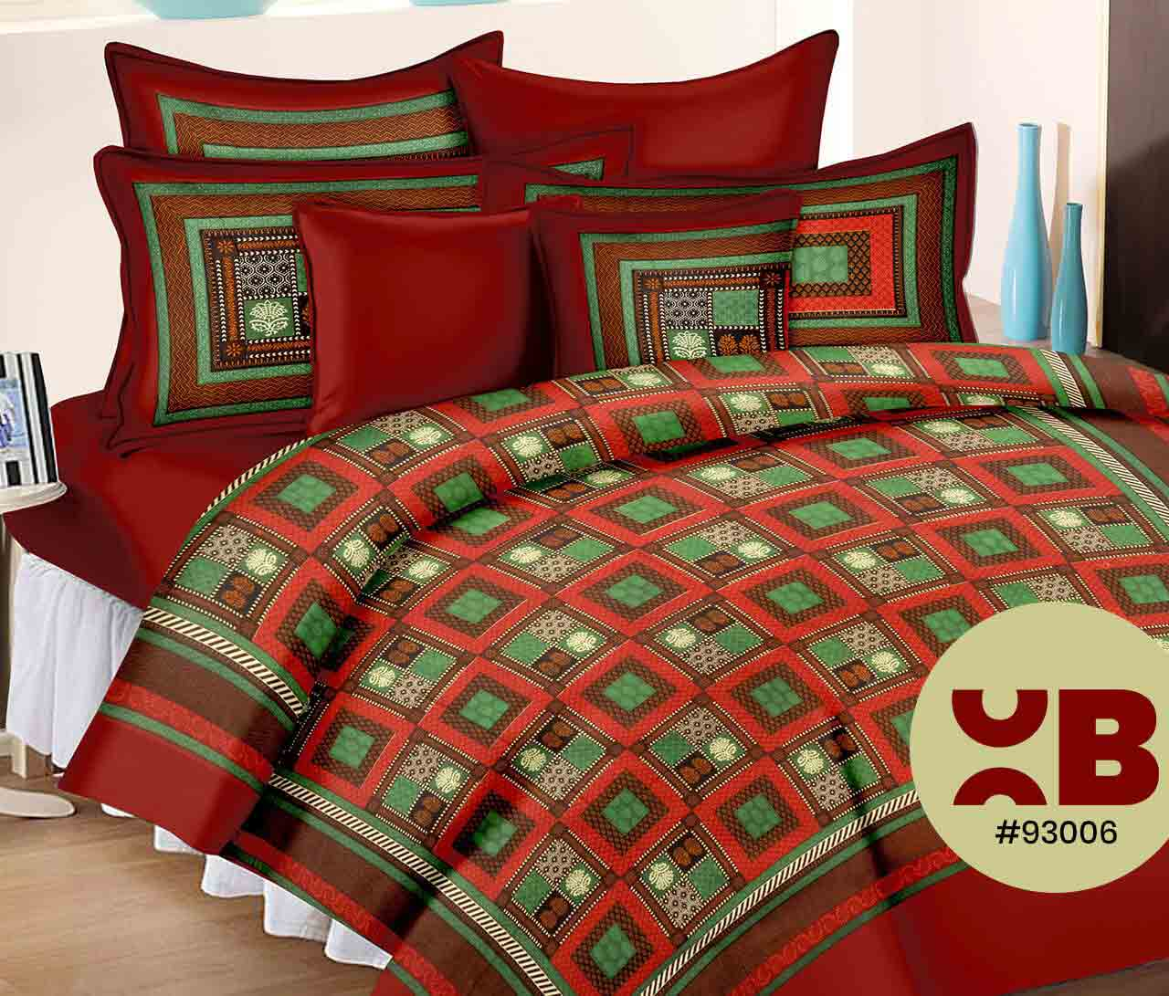 Centred Design With Elephant Printed Double Bedsheet With Two Pillow Covers ( 93X108)