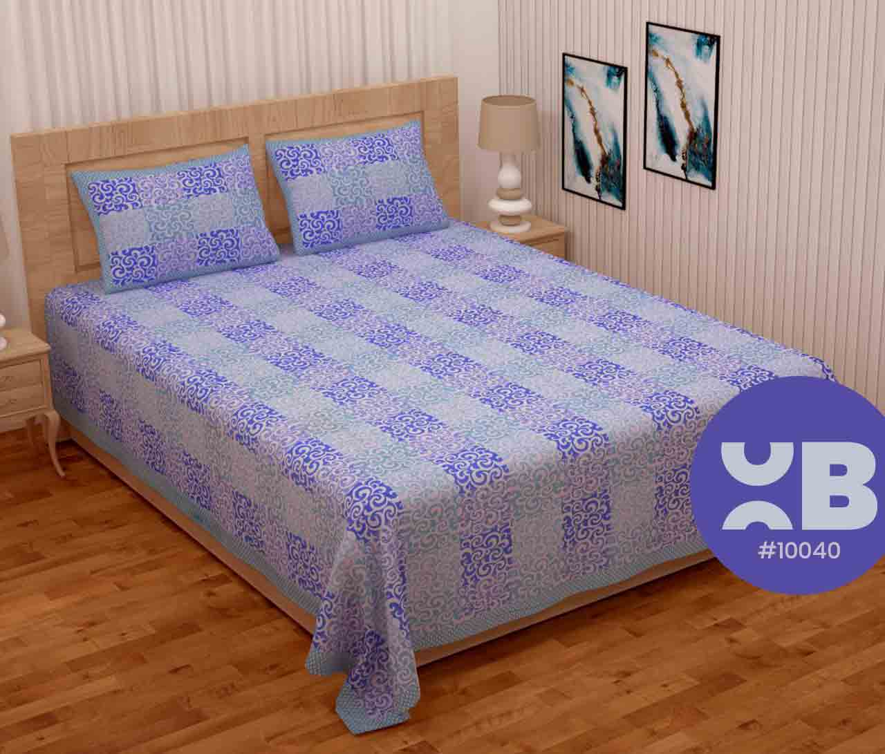 Attractive Blue Printed Queen Size Double Bedsheet With Two Pillow Covers (100x100)