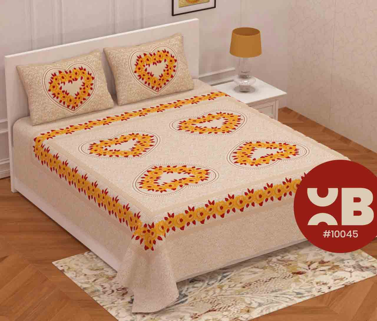Heart & Roses Design Queen Size Double Bedsheet With Two Pillow Covers (100x100)