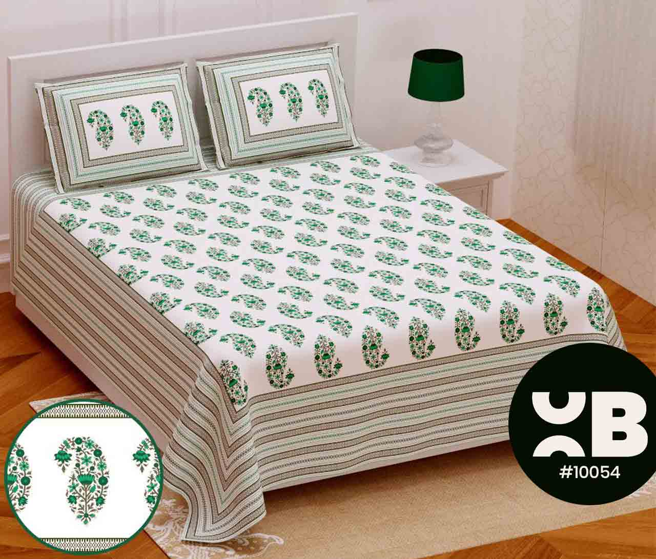 Green Shade Printed Queen Size Double Bedsheet With Two Pillow Covers (100x100)