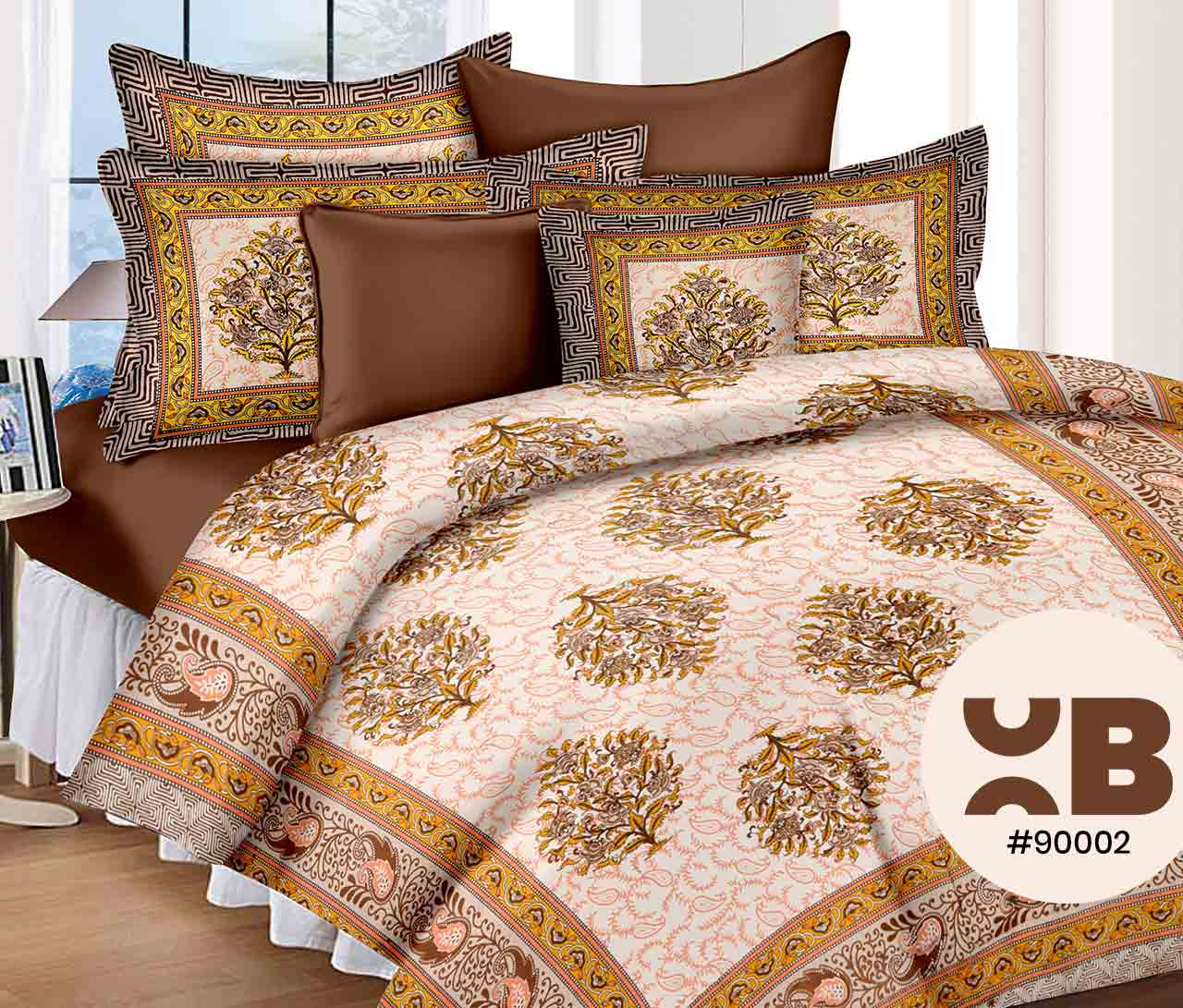 Brown Printed Double Bedsheet With Two Pillow Covers ( 90X105)