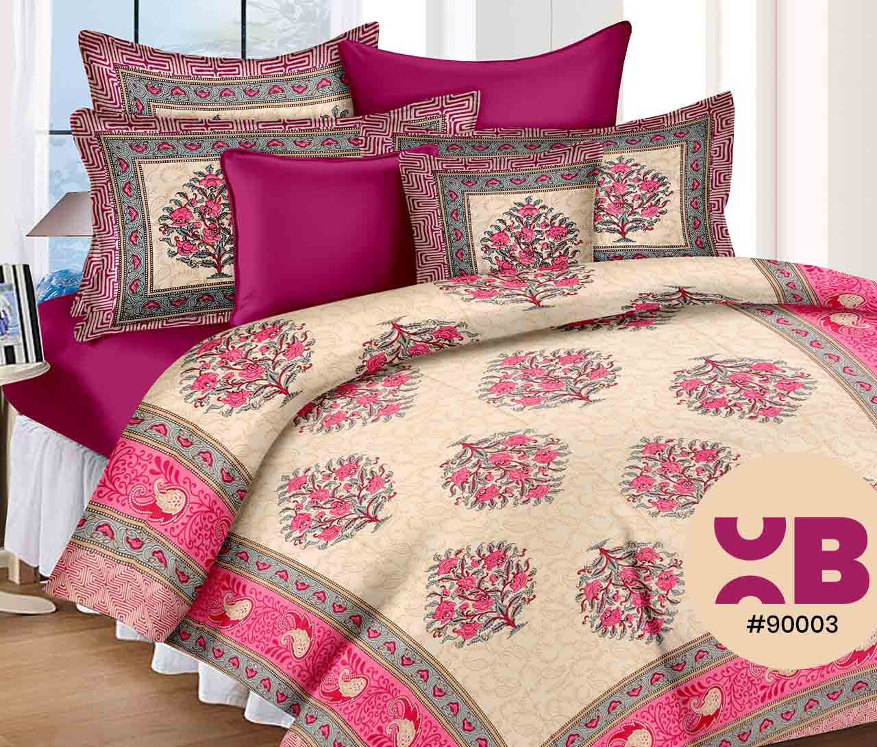 Lovely Magenta Printed Double Bedsheet With Two Pillow Covers ( 90X105)