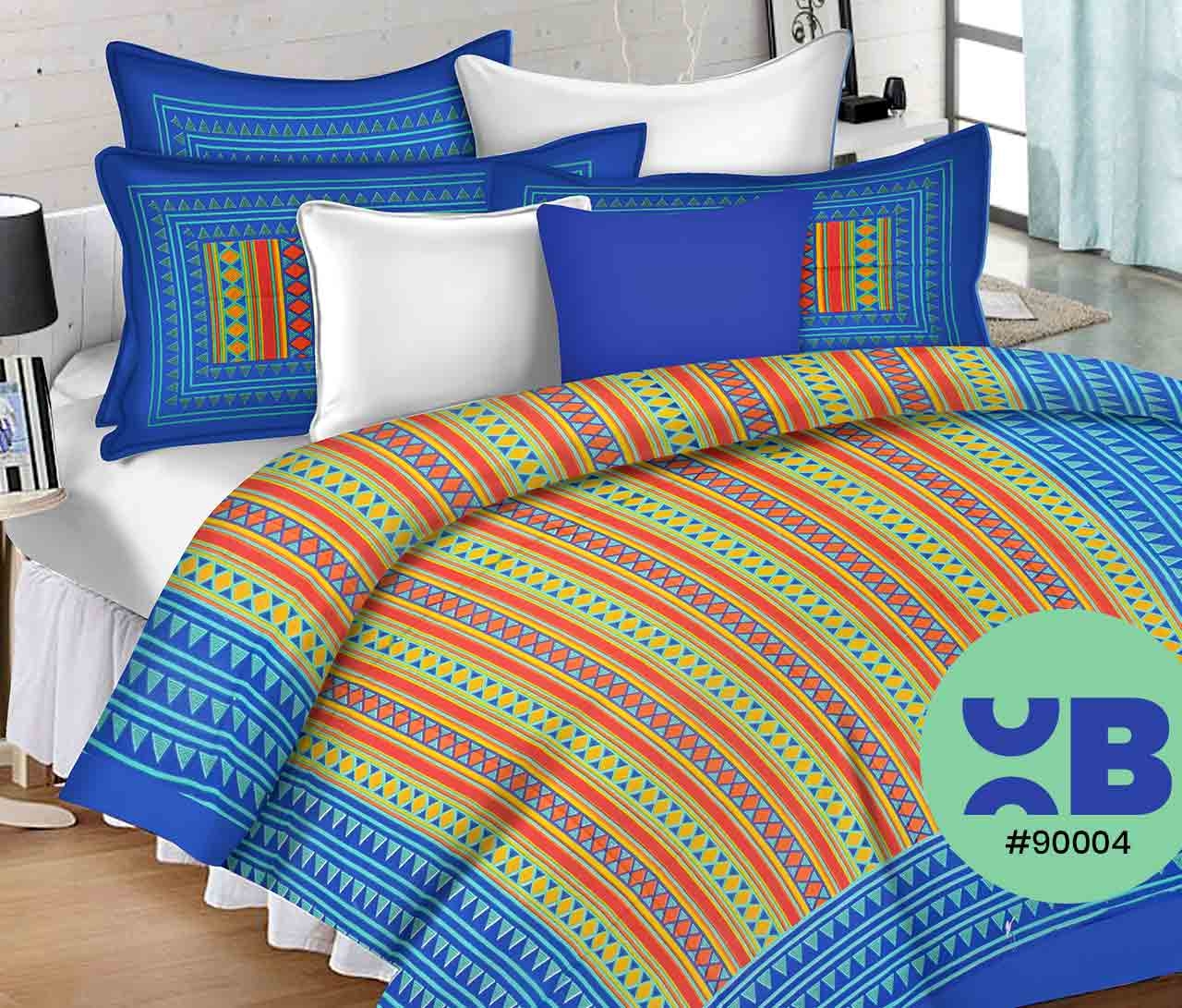 Blue Coordinated Triangle Design Double Bedsheet With Two Pillow Covers ( 90X105)