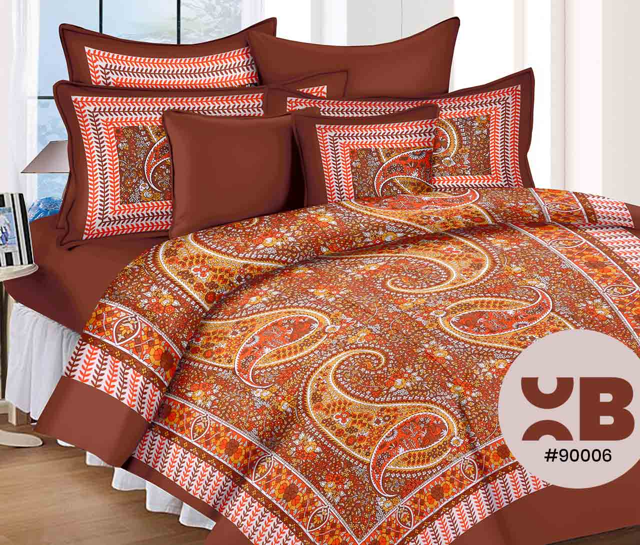 Floweral Pattern Design Double Bedsheet With Two Pillow Covers ( 90X105)
