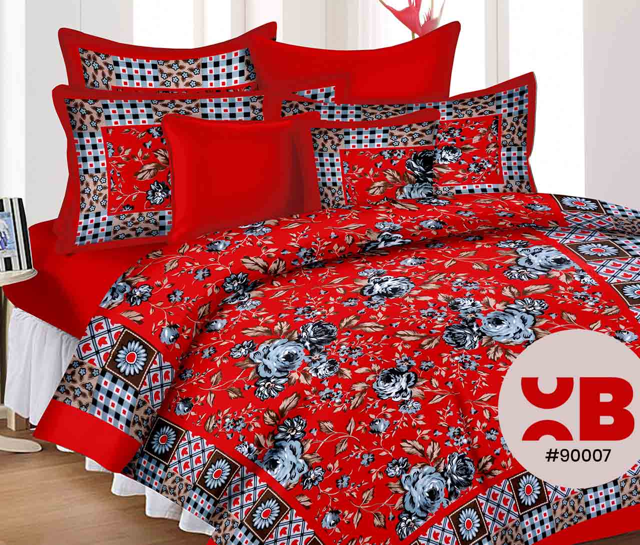 Tempting Red With Rose Print Double Bedsheet With Two Pillow Covers ( 90X105)