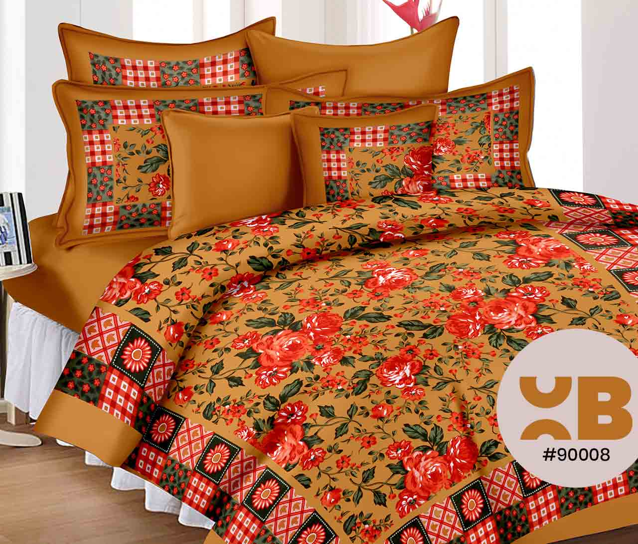 Rose Printed Double Bedsheet With Two Pillow Covers ( 90X105)