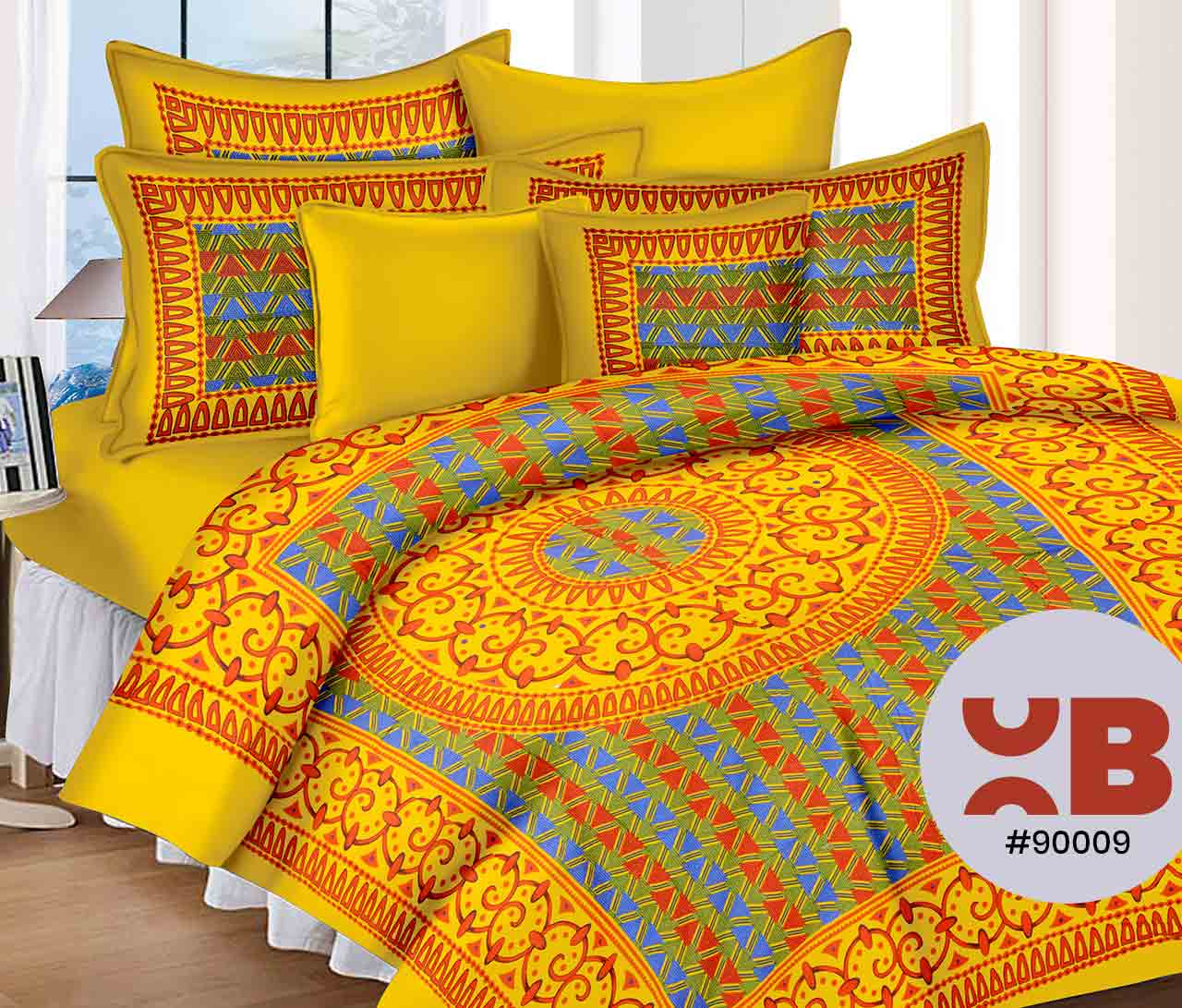 Amazing Mustard Yellow Double Bedsheet With Two Pillow Covers ( 90X105)