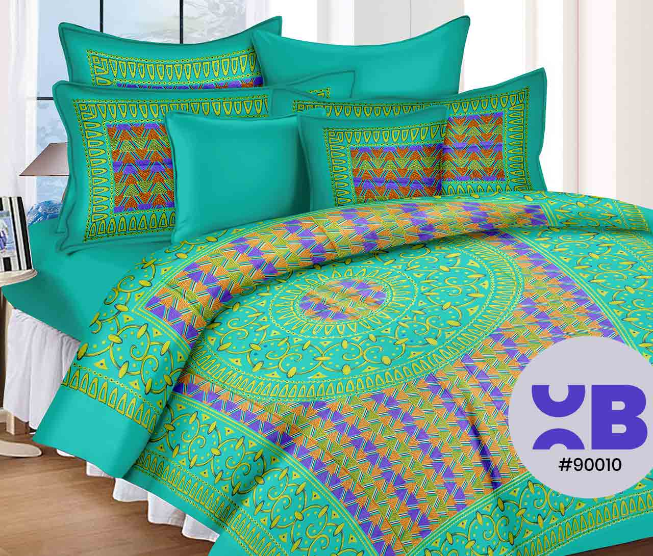 Multipattern Design Double Bedsheet With Two Pillow Covers ( 90X105)