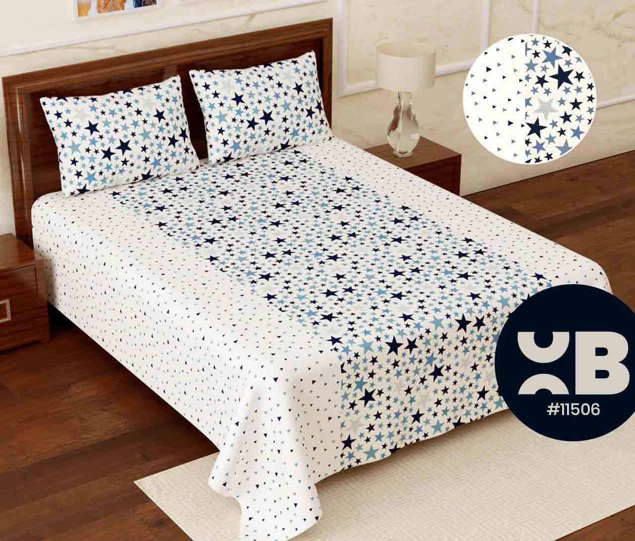 Blue shade stars Super King Size Double Bedsheet with two Pillow Covers ( 110X115)