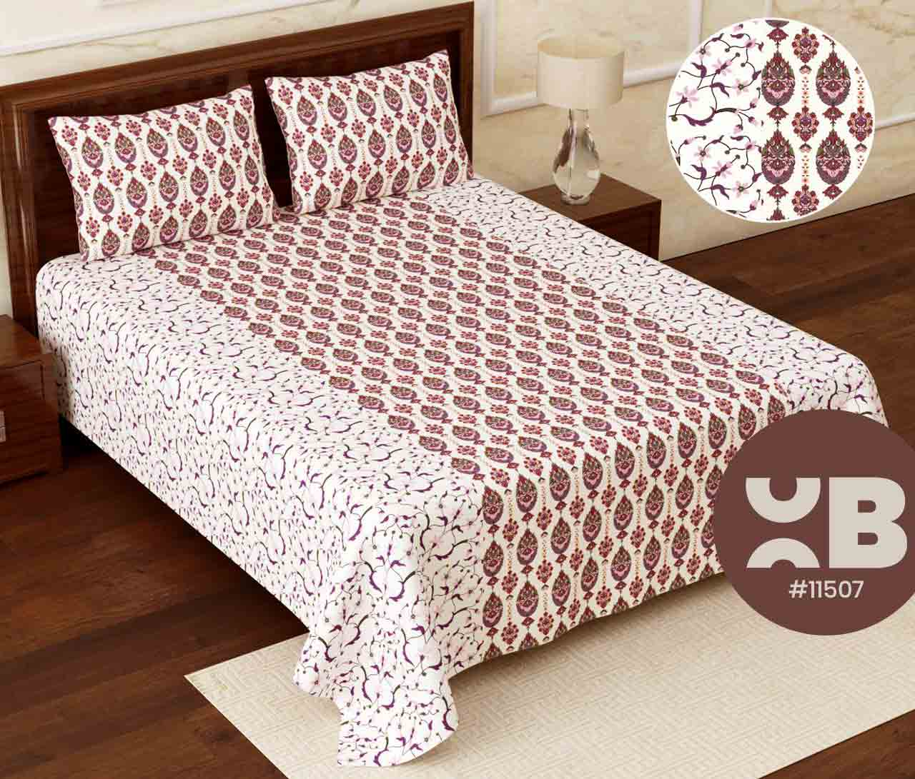 Lined flower printed Super King Size Double Bedsheet with two Pillow Covers ( 110X115)