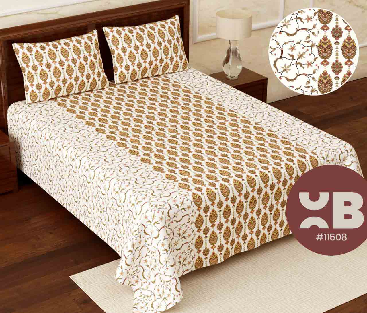 Soft Lined flower printed Super King Size Double Bedsheet with two Pillow Covers ( 110X115)